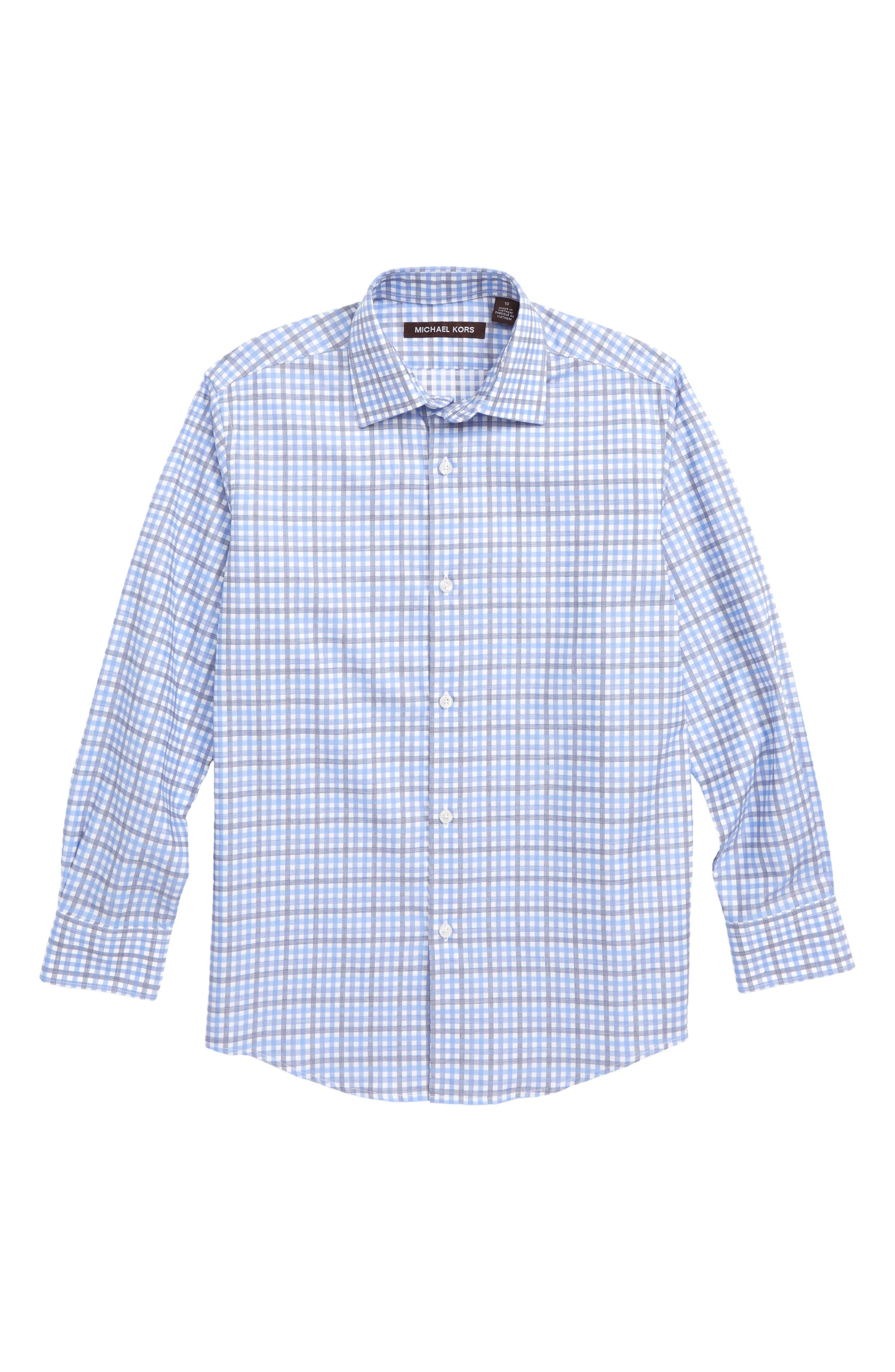 MICHAEL KORS, Check Print Dress Shirt, Main thumbnail 1, color, BLUE