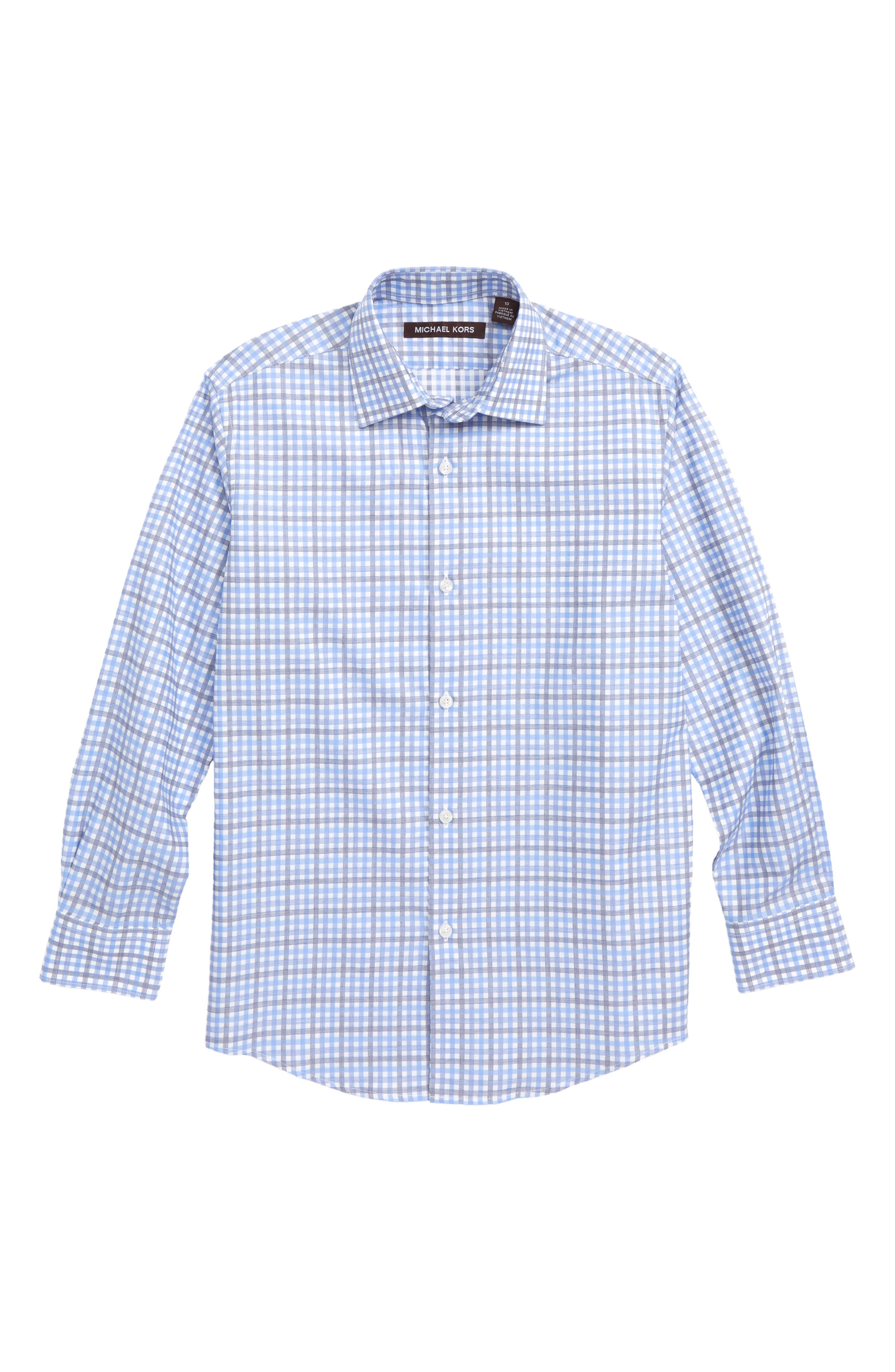 MICHAEL KORS Check Print Dress Shirt, Main, color, BLUE