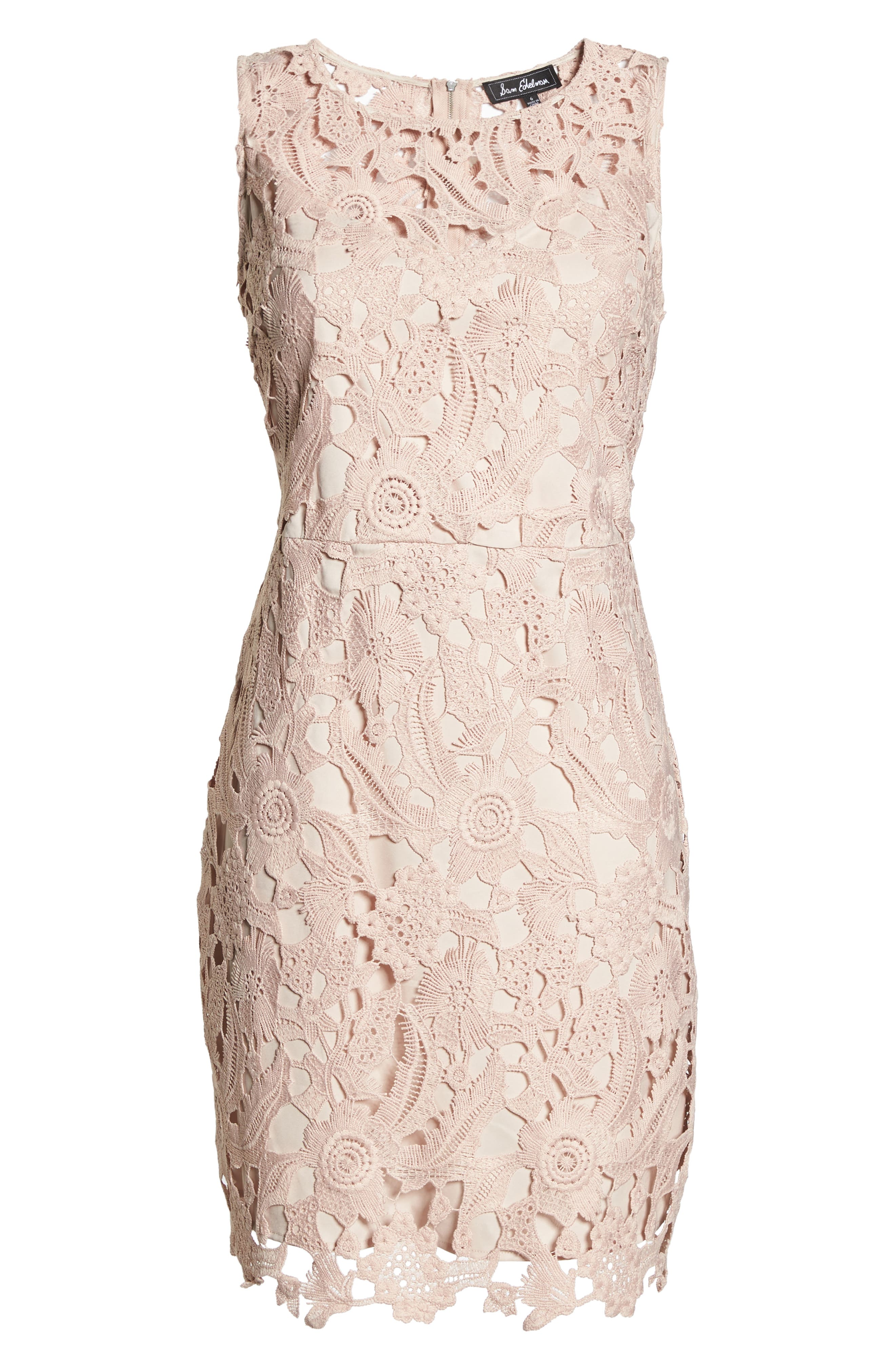 SAM EDELMAN, Lace Sheath Dress, Alternate thumbnail 7, color, BLUSH