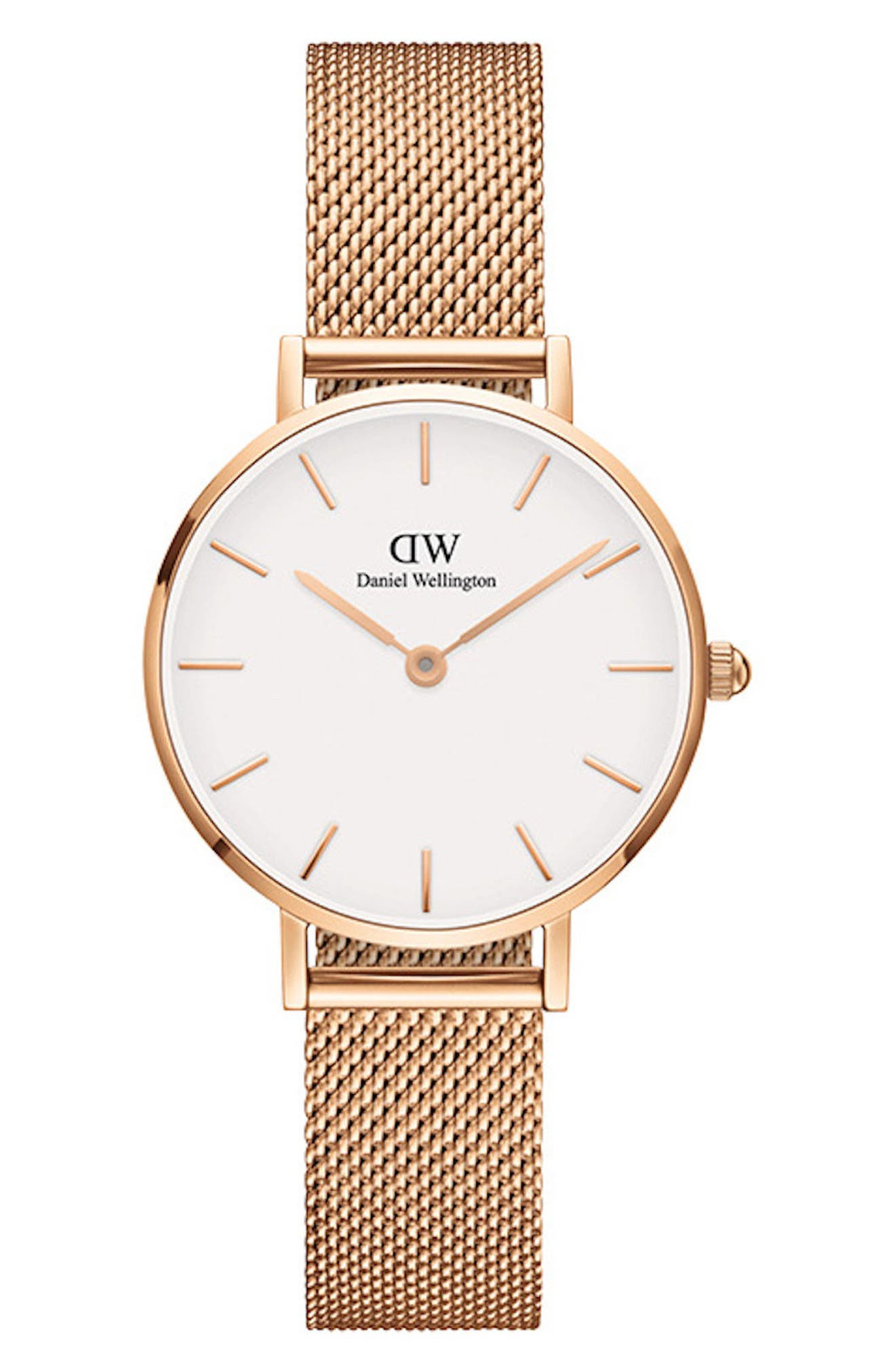 DANIEL WELLINGTON, Classic Petite Mesh Strap Watch, 28mm, Main thumbnail 1, color, ROSE GOLD/ WHITE/ ROSE GOLD