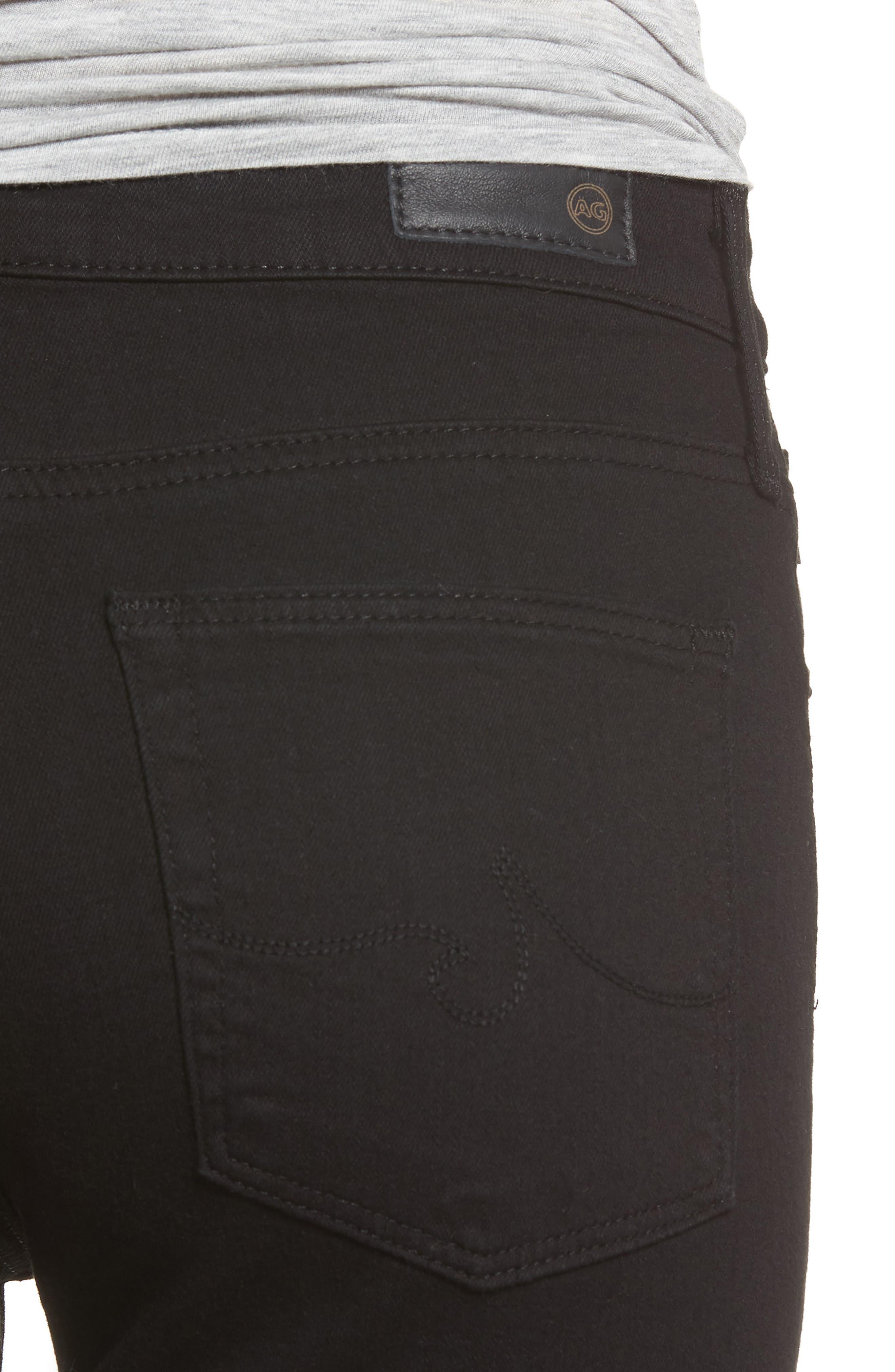 AG, The Farrah High Waist Raw Hem Ankle Skinny Jeans, Alternate thumbnail 5, color, BLACK INK