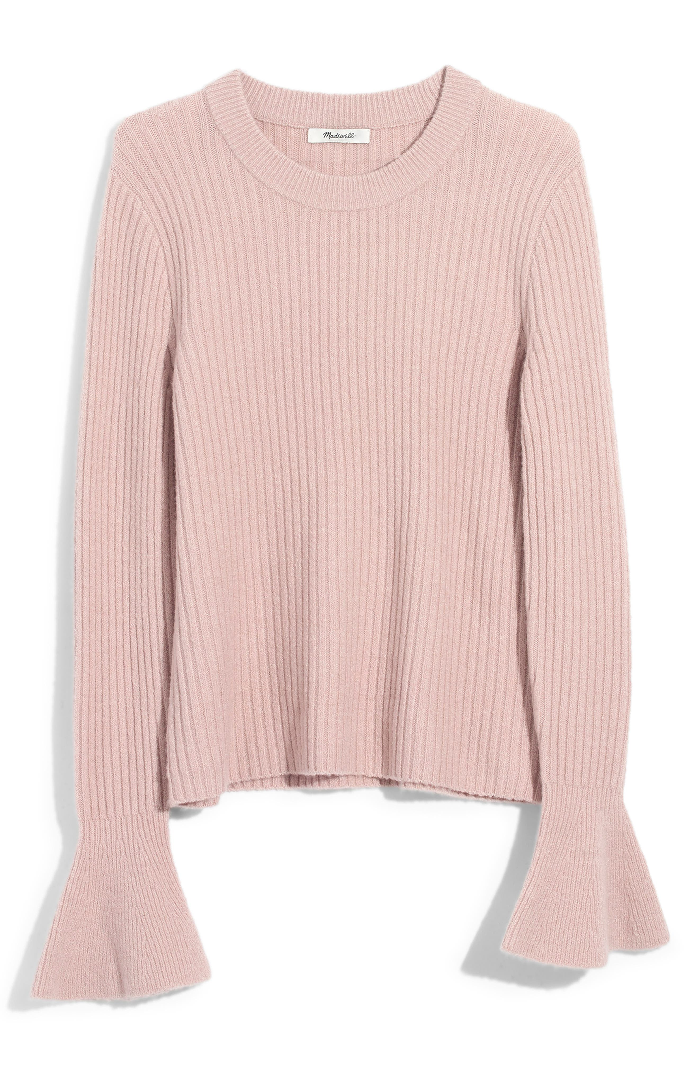 MADEWELL, Ruffle Cuff Pullover Sweater, Main thumbnail 1, color, ICED ROSE