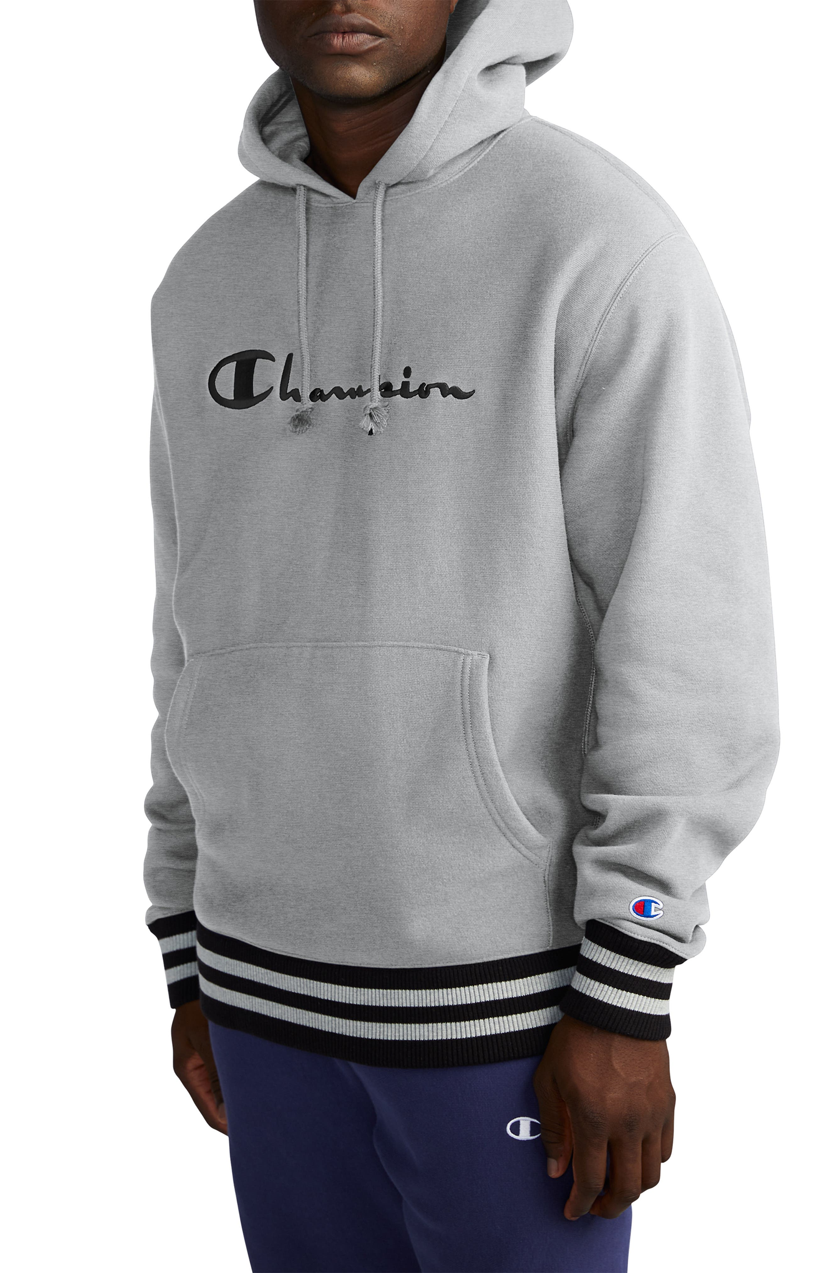 CHAMPION, Embroidered Logo Hooded Sweatshirt, Main thumbnail 1, color, OXFORD GREY/ BLACK