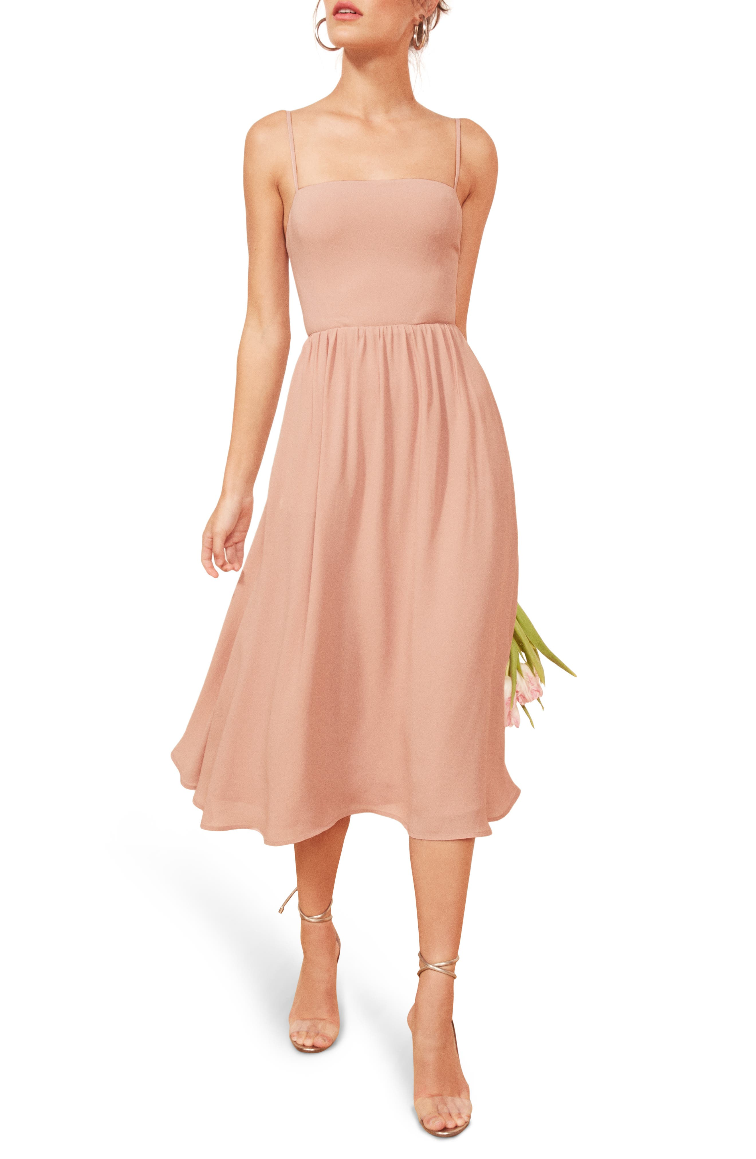 REFORMATION Rosehip Fit & Flare Dress, Main, color, BLUSH