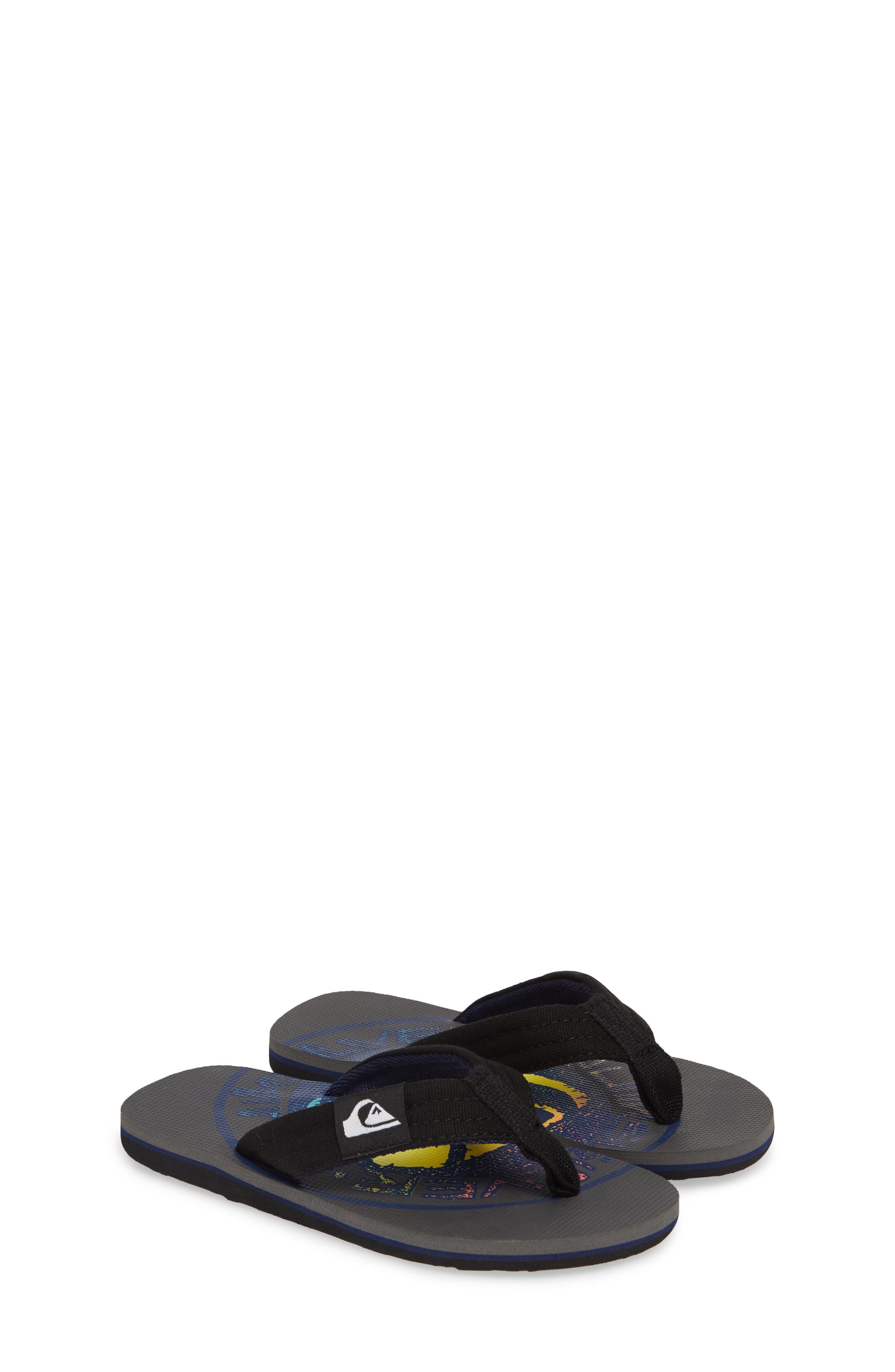 QUIKSILVER, Molokai Layback Flip Flop, Alternate thumbnail 2, color, GREY/ BLACK/ BLUE