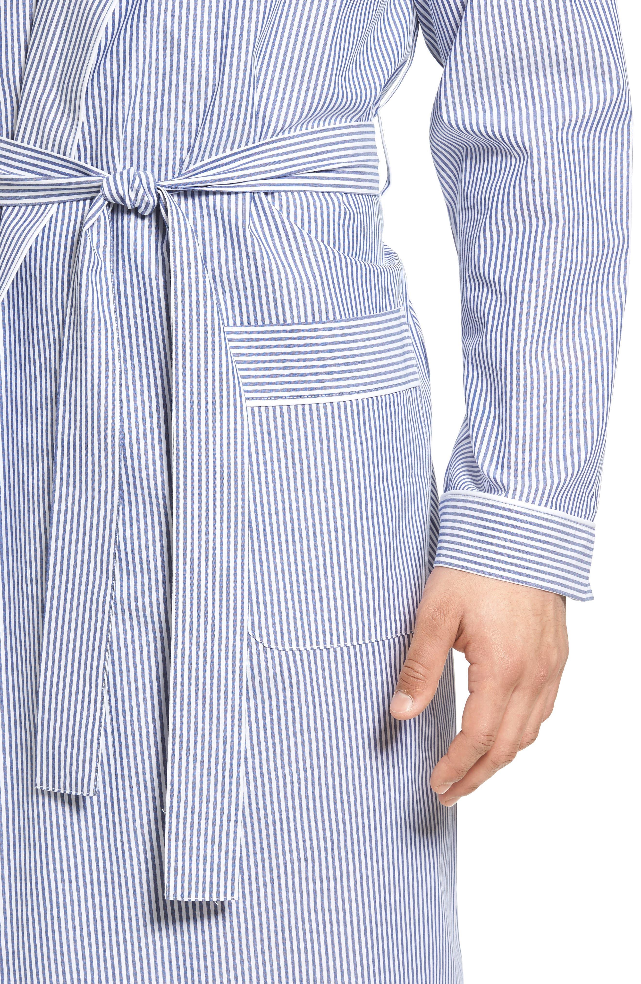 MAJESTIC INTERNATIONAL, Bengal Stripe Robe, Alternate thumbnail 4, color, NAVY/ WHITE