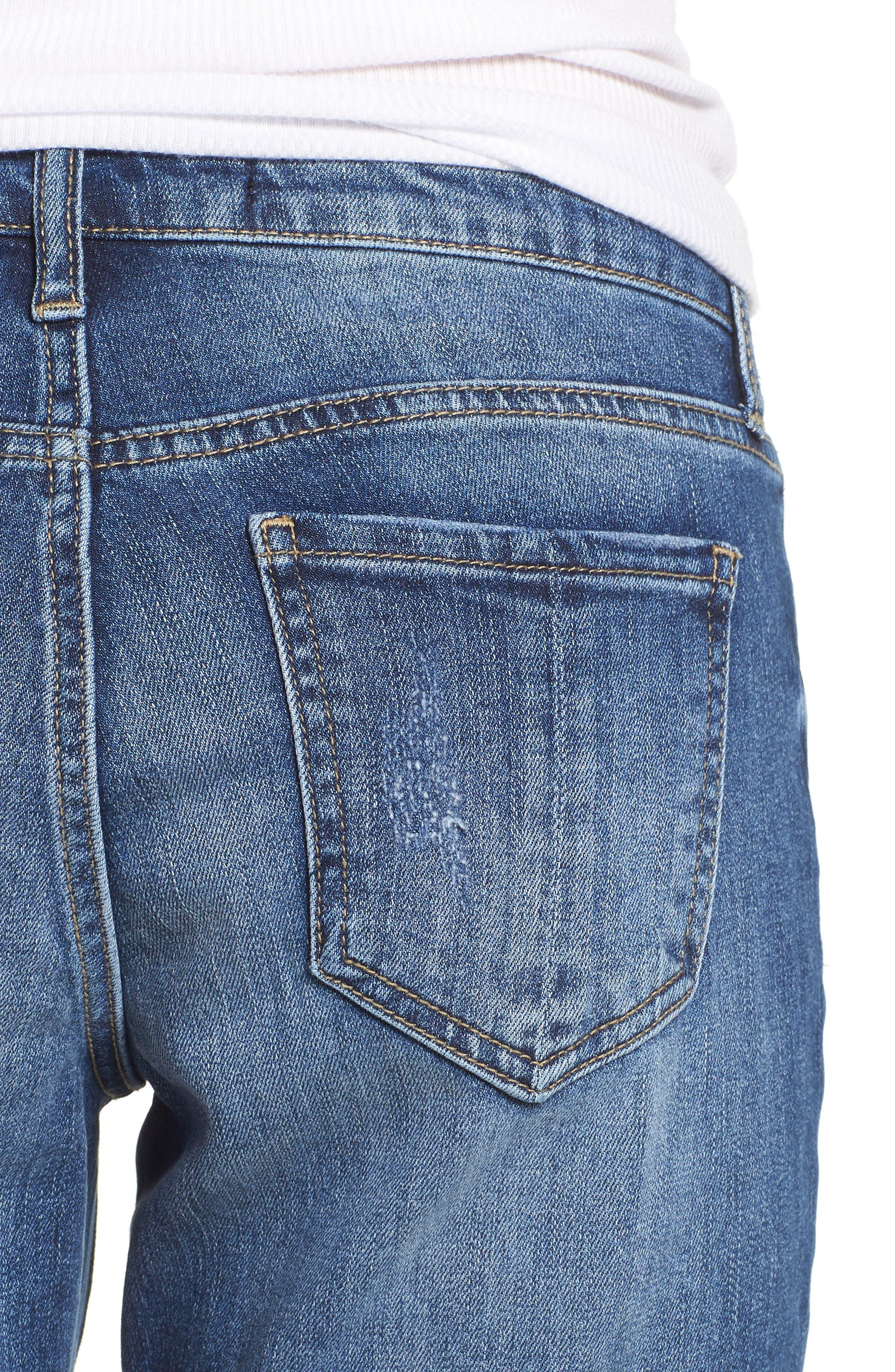 PROSPERITY DENIM, Ripped Girlfriend Jeans, Alternate thumbnail 5, color, BLUE