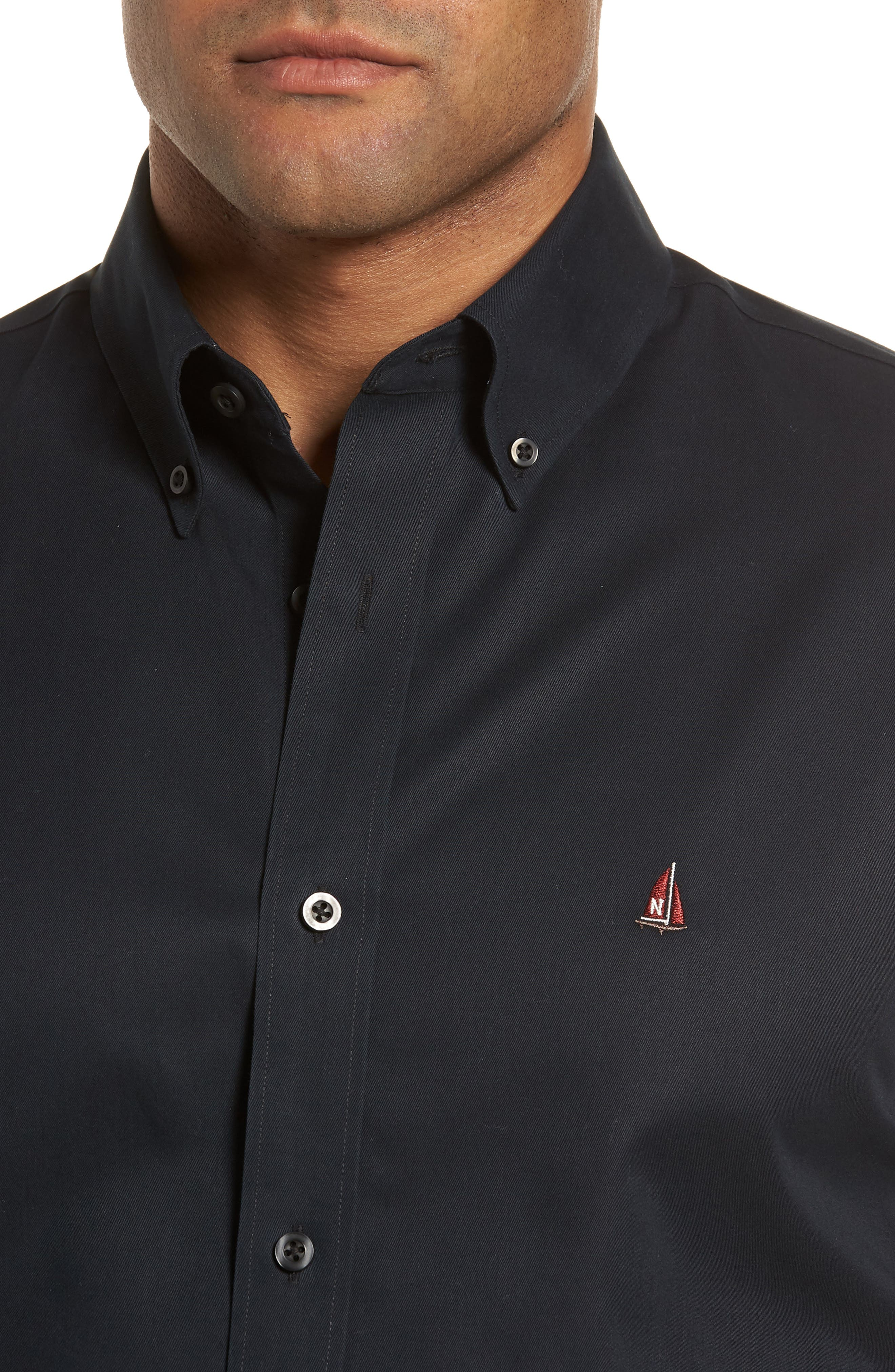 NORDSTROM MEN'S SHOP, Smartcare<sup>™</sup> Traditional Fit Twill Boat Shirt, Alternate thumbnail 4, color, BLACK