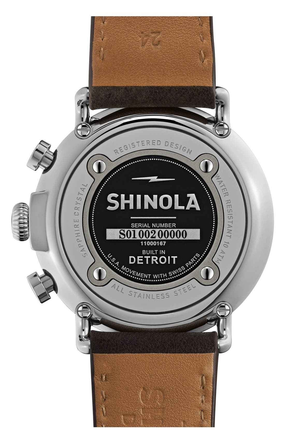 SHINOLA, The Runwell Chrono Leather Strap Watch, 47mm, Alternate thumbnail 2, color, SLATE BLUE/ TAN