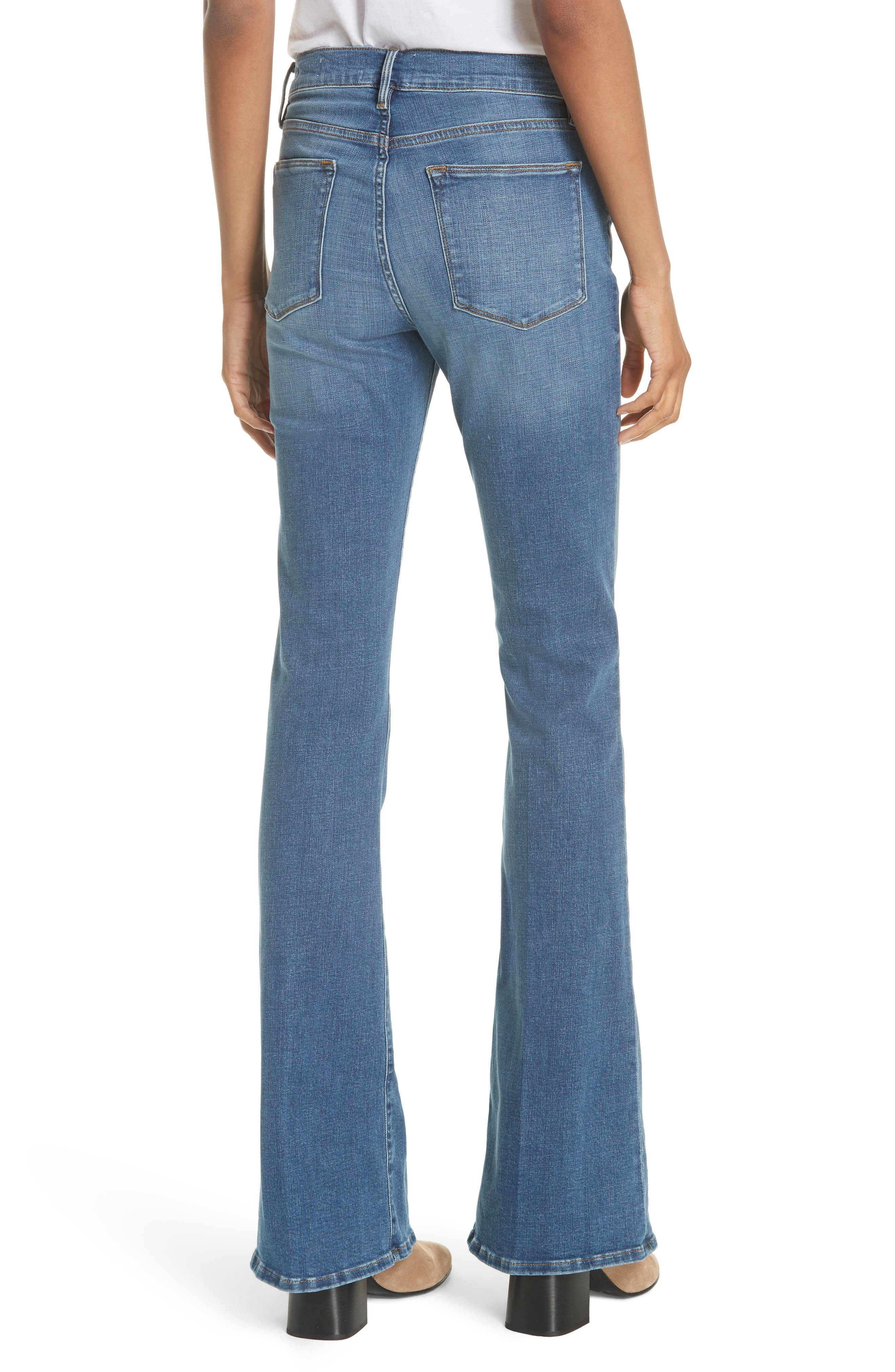 FRAME, Le High Flare Jeans, Alternate thumbnail 2, color, COLUMBUS