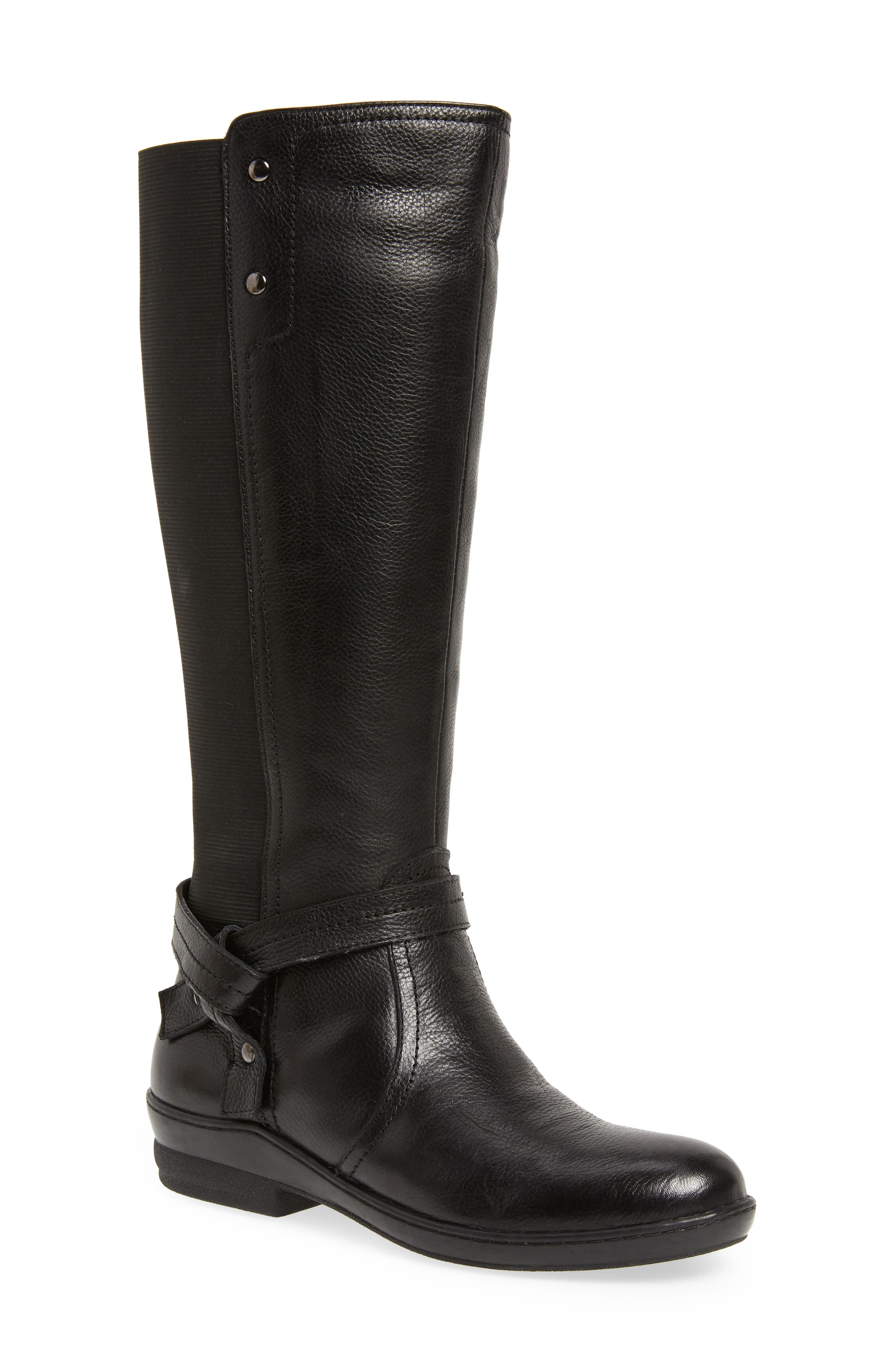 DAVID TATE, Memphis 16 Stretch Back Boot, Main thumbnail 1, color, BLACK LEATHER