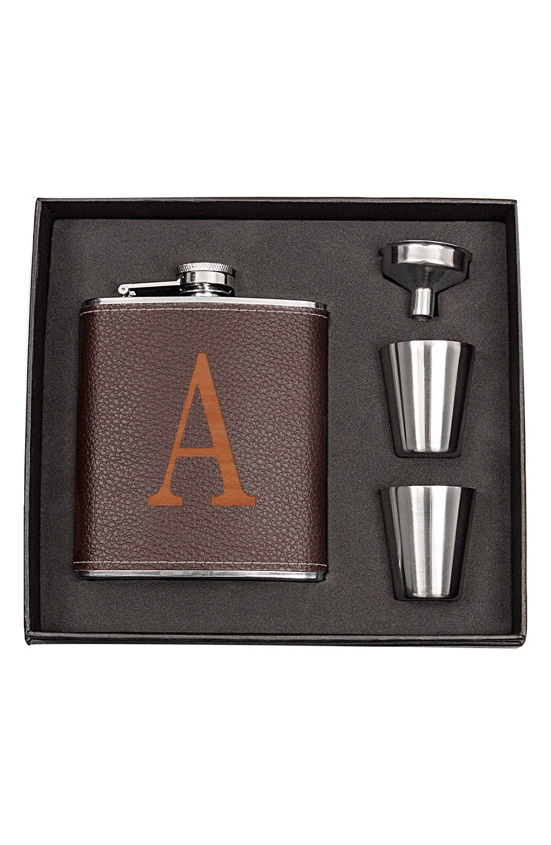 CATHY'S CONCEPTS, Monogram Flask Set, Main thumbnail 1, color, BROWN - A