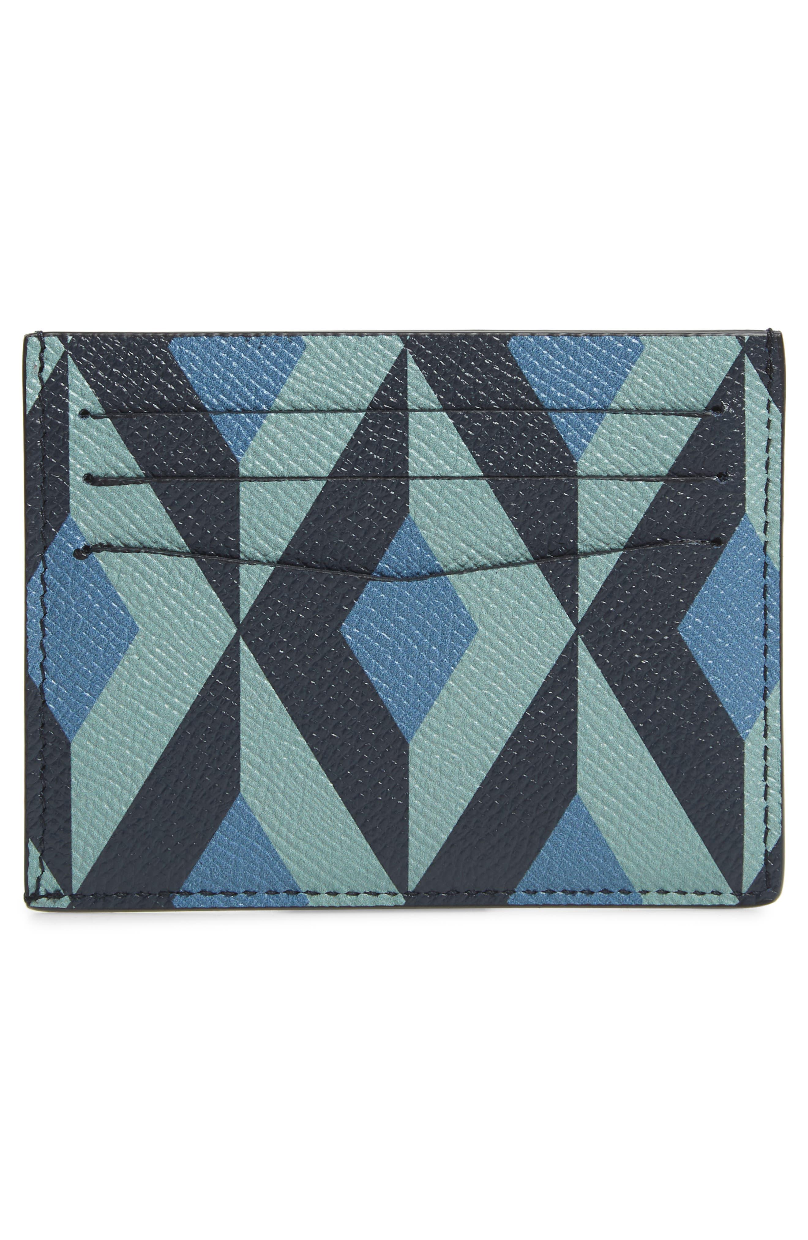 DUNHILL, Cadogan Leather Card Case, Alternate thumbnail 2, color, STONE BLUE