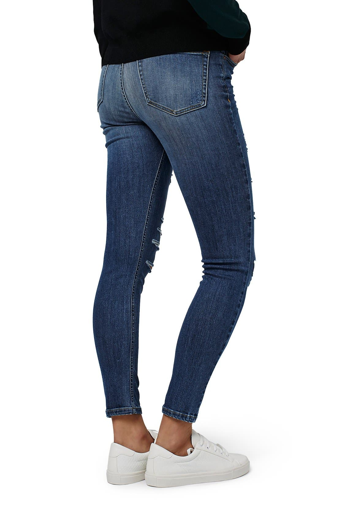 TOPSHOP, Jamie Ripped High Rise Skinny Jeans, Alternate thumbnail 4, color, 400