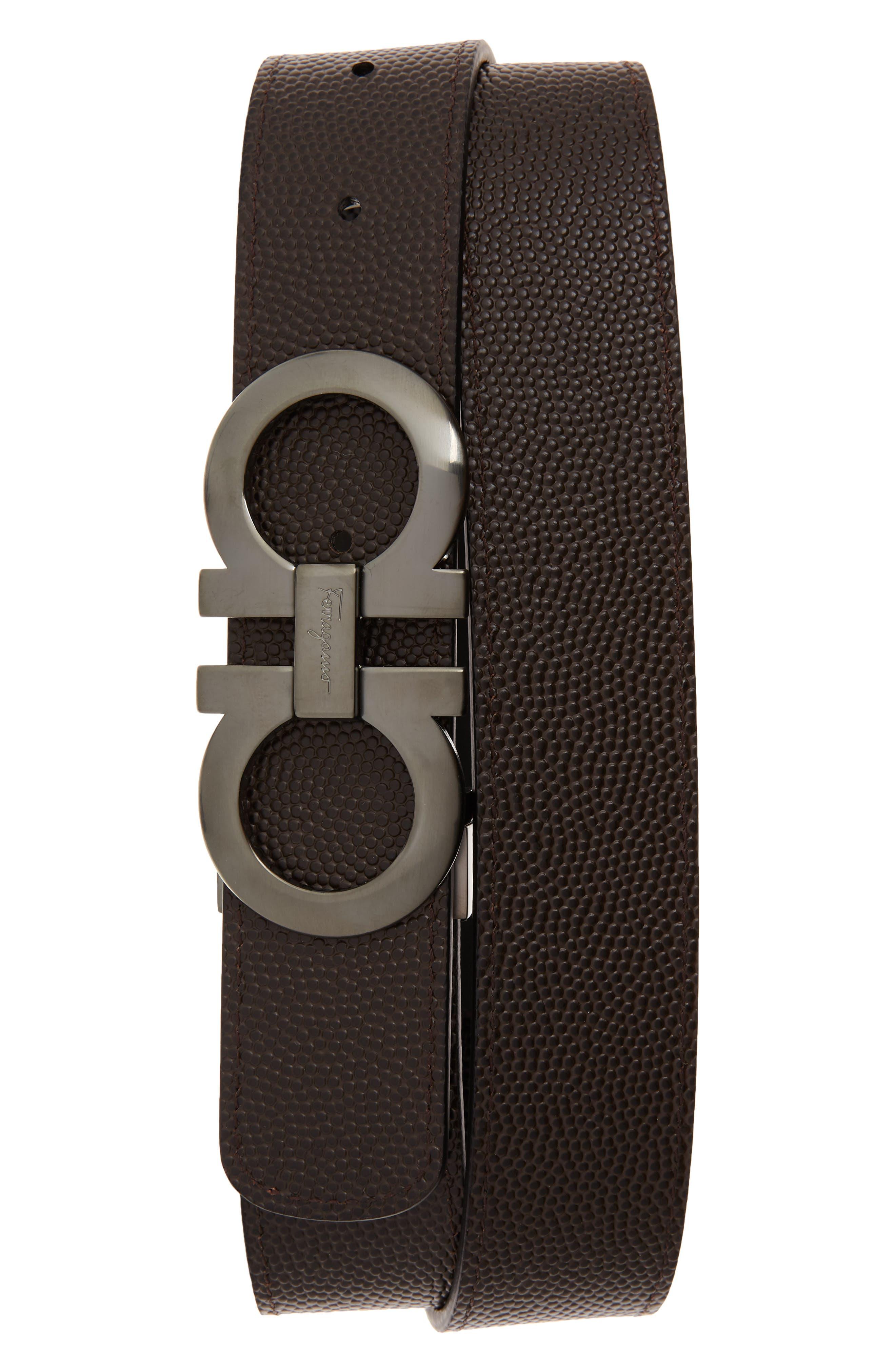 SALVATORE FERRAGAMO, Leather Belt, Alternate thumbnail 2, color, NERO/ CHOCOLATE