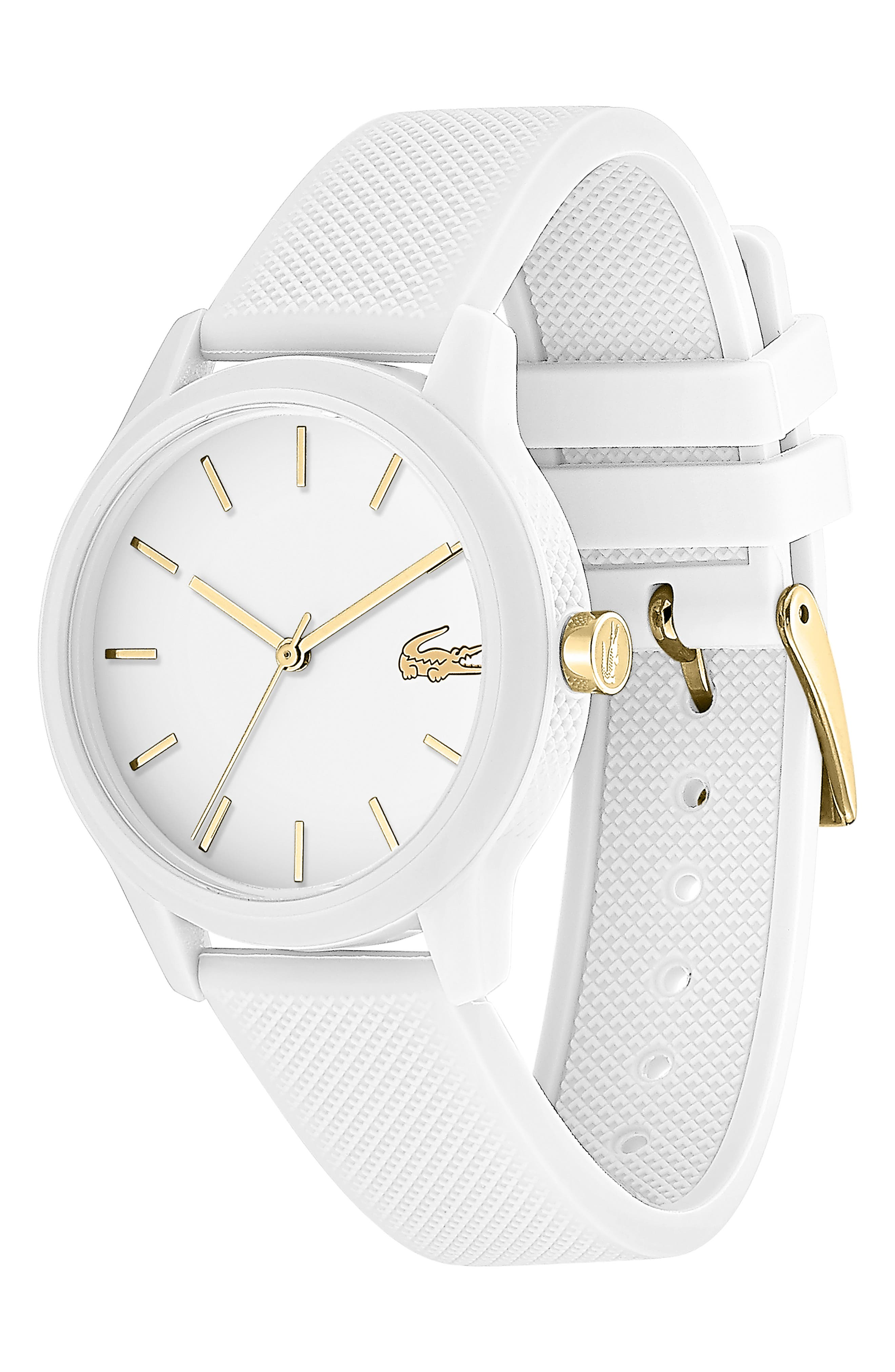 LACOSTE, 12.12 Silicone Strap Watch, 36mm, Alternate thumbnail 3, color, WHITE