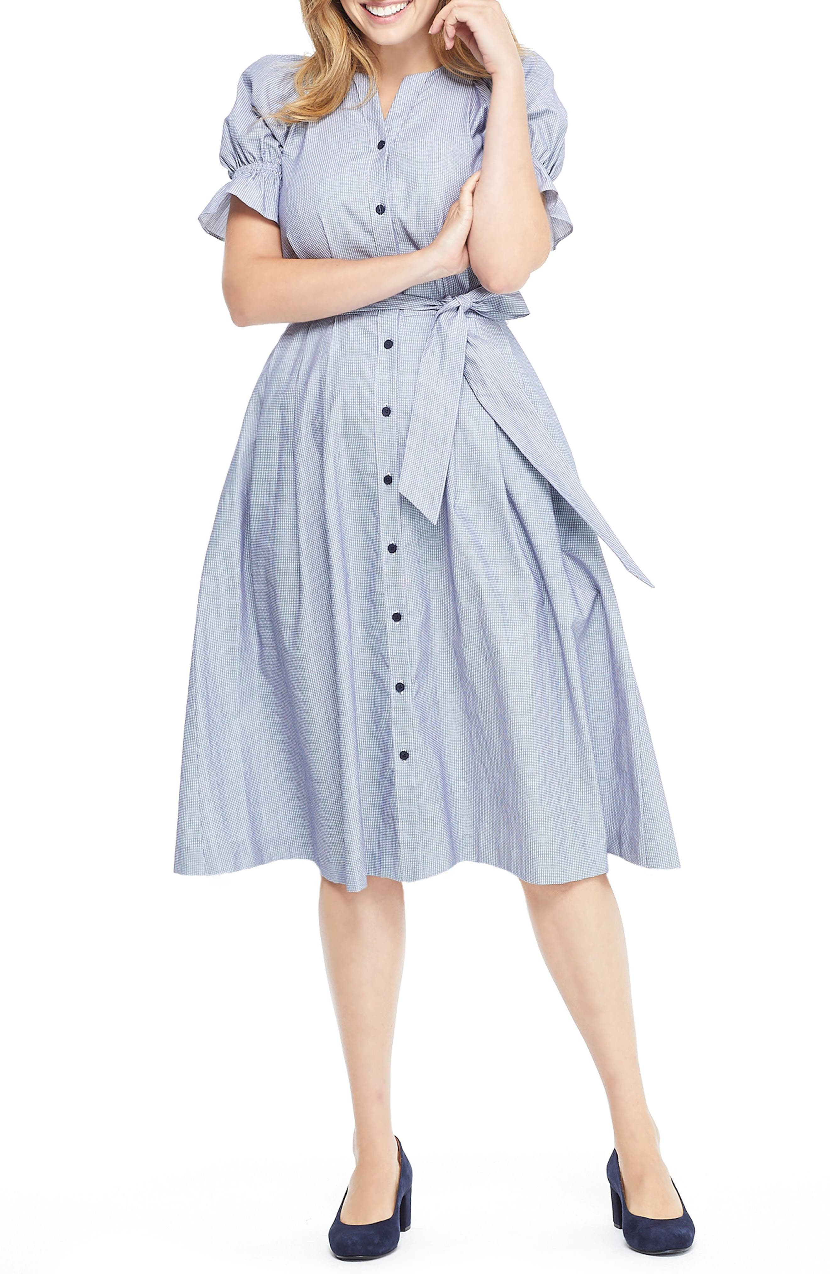 GAL MEETS GLAM COLLECTION Daisy Cotton Dobby Shirtdress, Main, color, BLUE/ WHITE