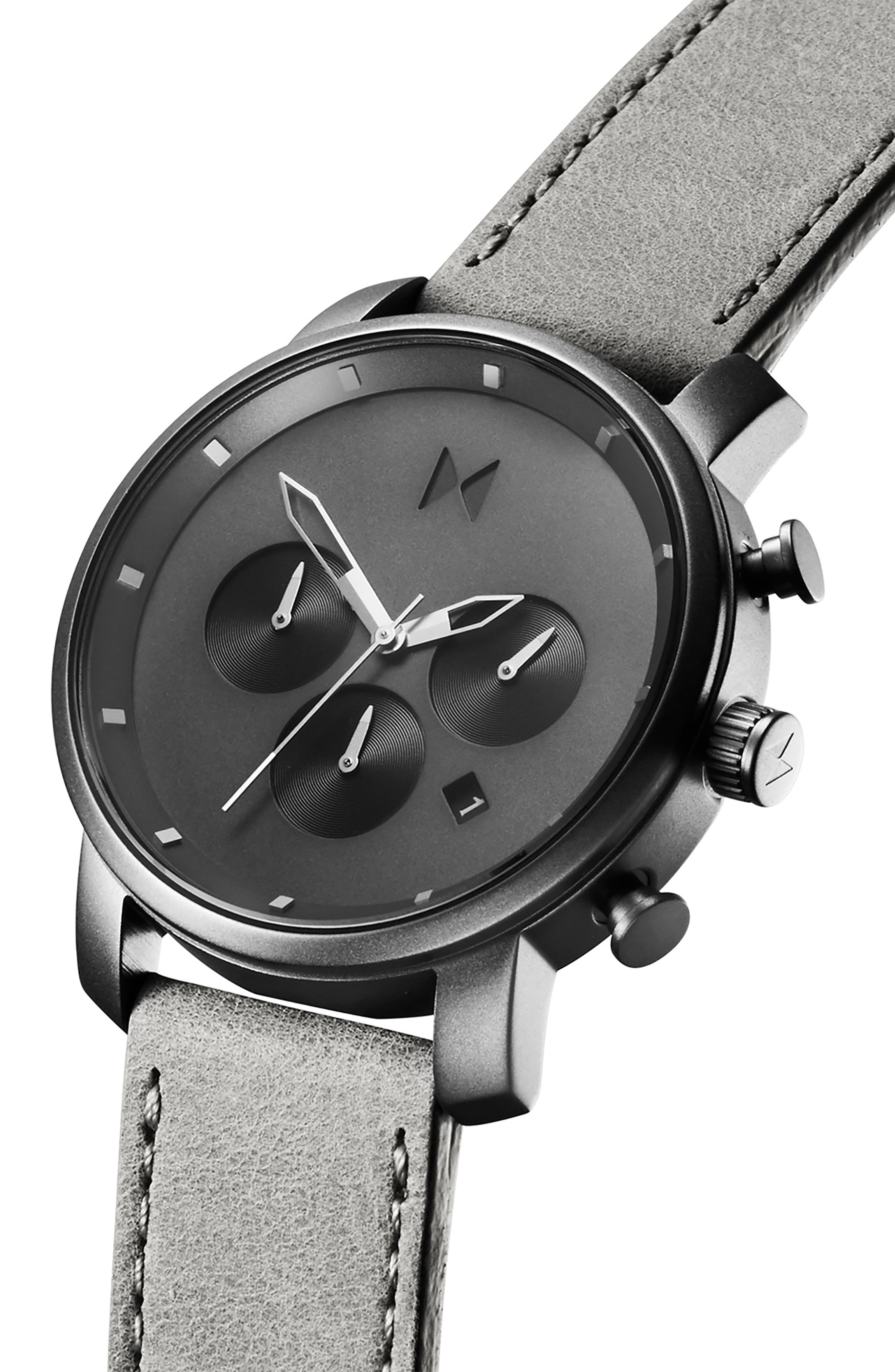 MVMT, Mono Chronograph Leather Strap Watch, 40mm, Alternate thumbnail 4, color, GREY/ SILVER