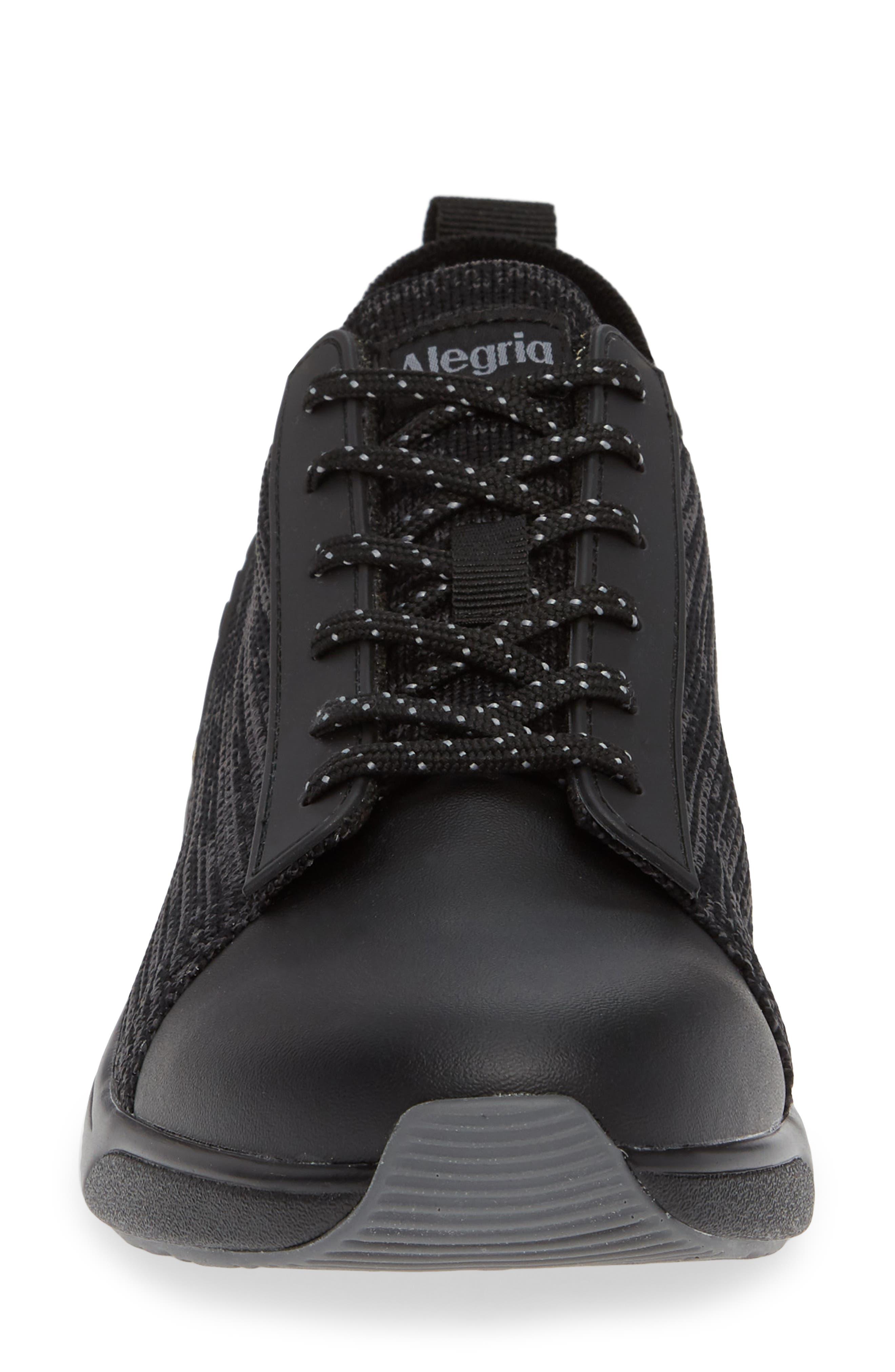 ALEGRIA, Qest Sneaker, Alternate thumbnail 4, color, BLACK LEATHER