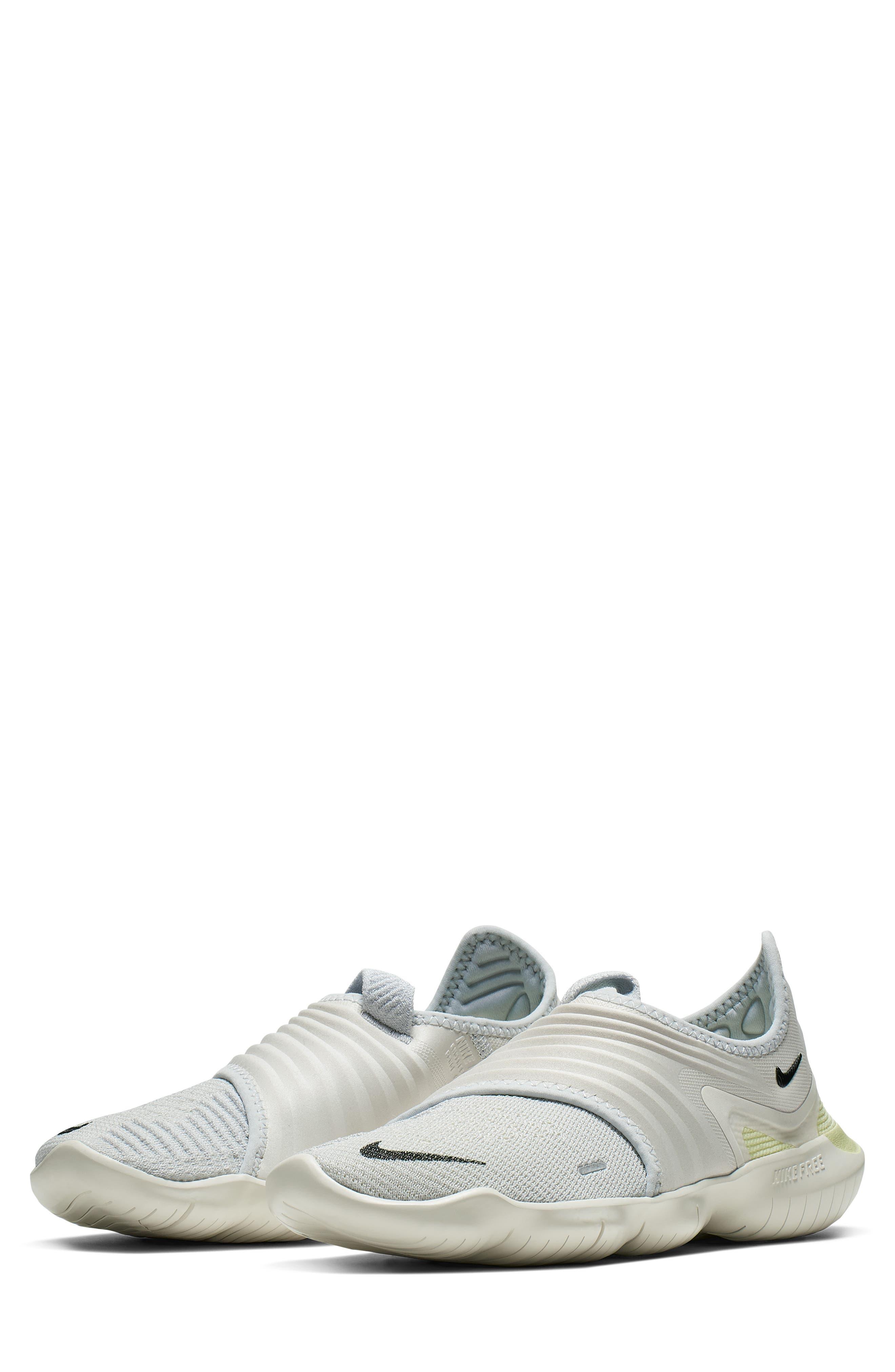 NIKE, Free RN Flyknit 3.0 Running Shoe, Main thumbnail 1, color, PURE PLATINUM/ BLACK/ GREEN