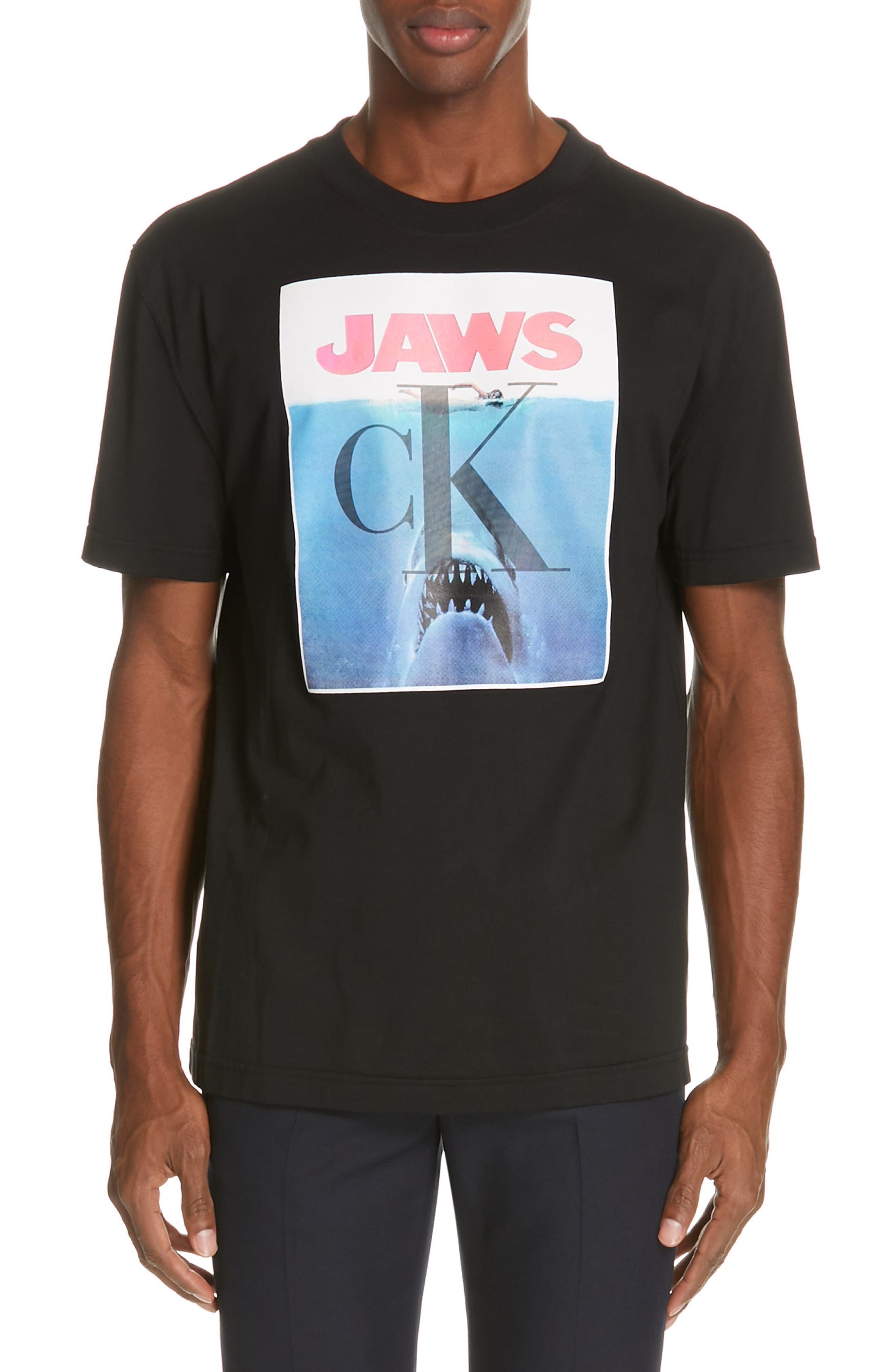 CALVIN KLEIN 205W39NYC, Jaws Graphic T-Shirt, Main thumbnail 1, color, BLACK