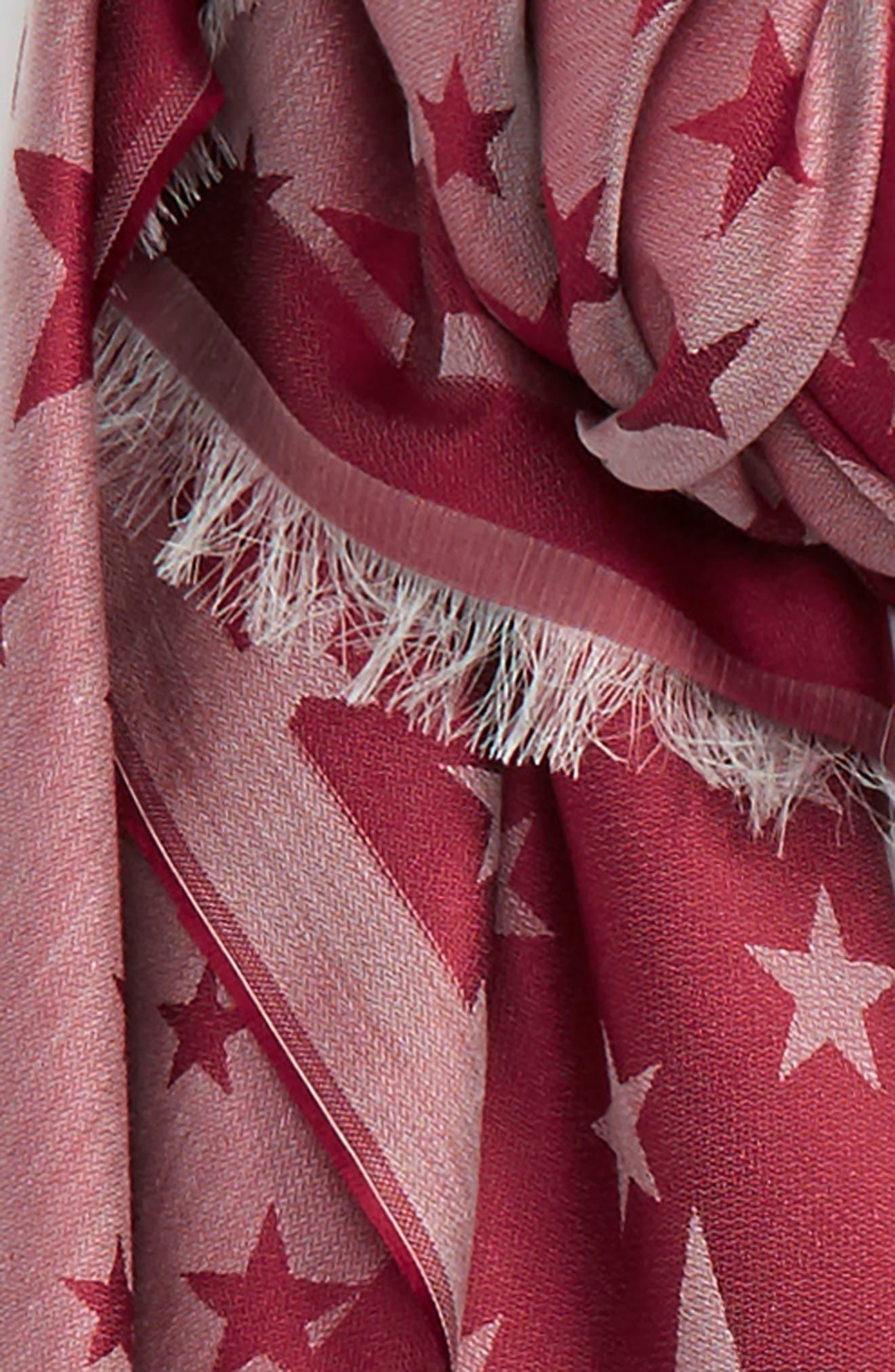 STELLA MCCARTNEY, Star Jacquard Silk & Modal Scarf, Alternate thumbnail 3, color, BURGUNDY