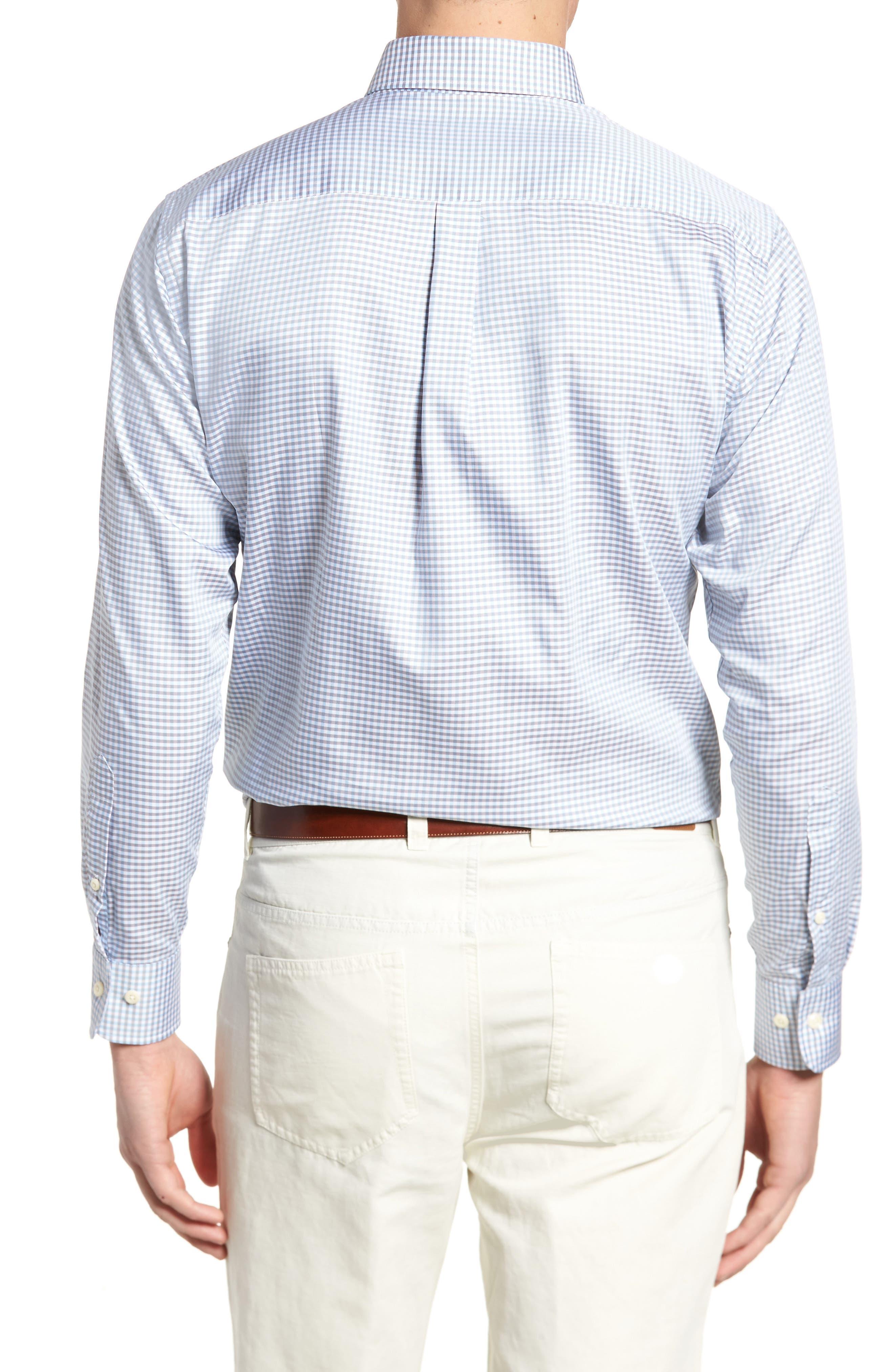PETER MILLAR, Crown Regular Fit Mini Check Sport Shirt, Alternate thumbnail 2, color, TAR HEEL BLUE