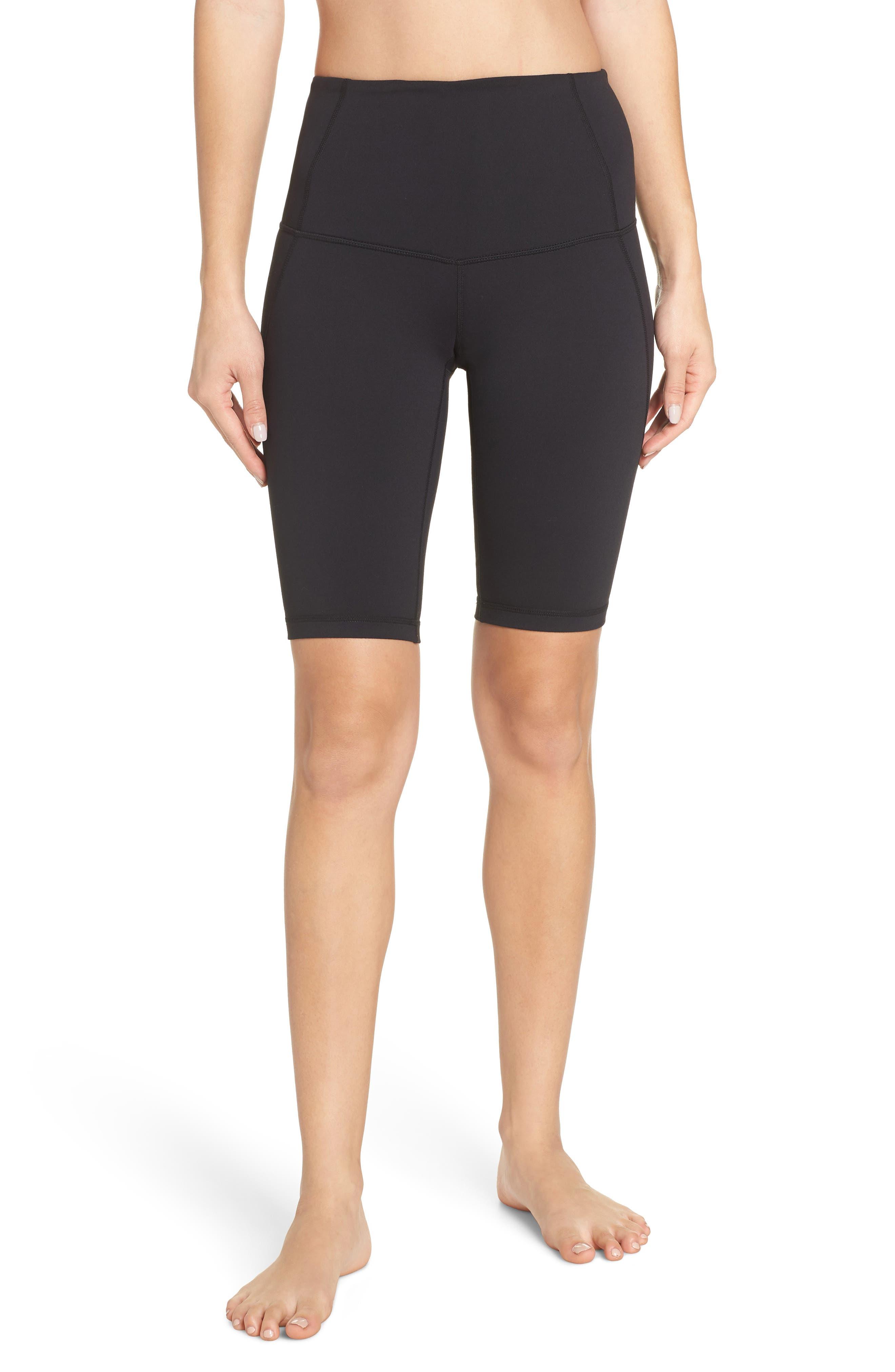ZELLA Hatha High Waist Bike Shorts, Main, color, BLACK