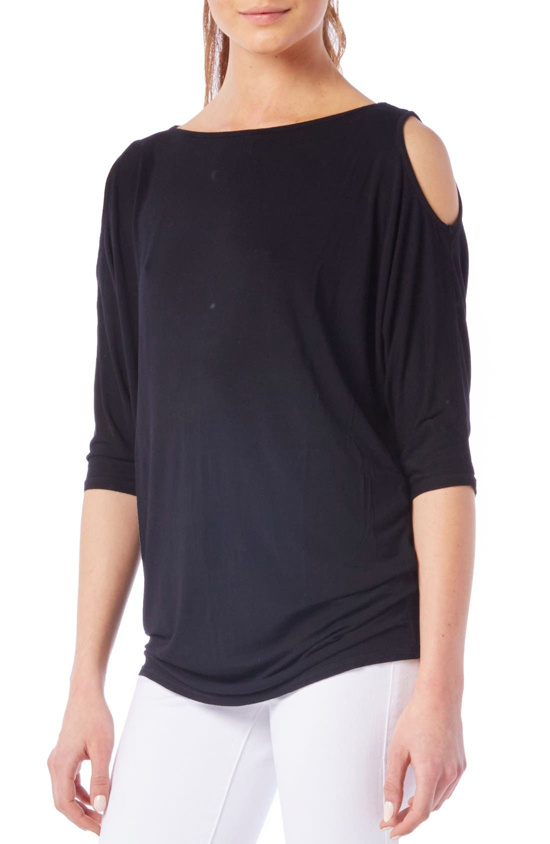 MICHAEL STARS, Cold Shoulder Tee, Alternate thumbnail 2, color, BLACK