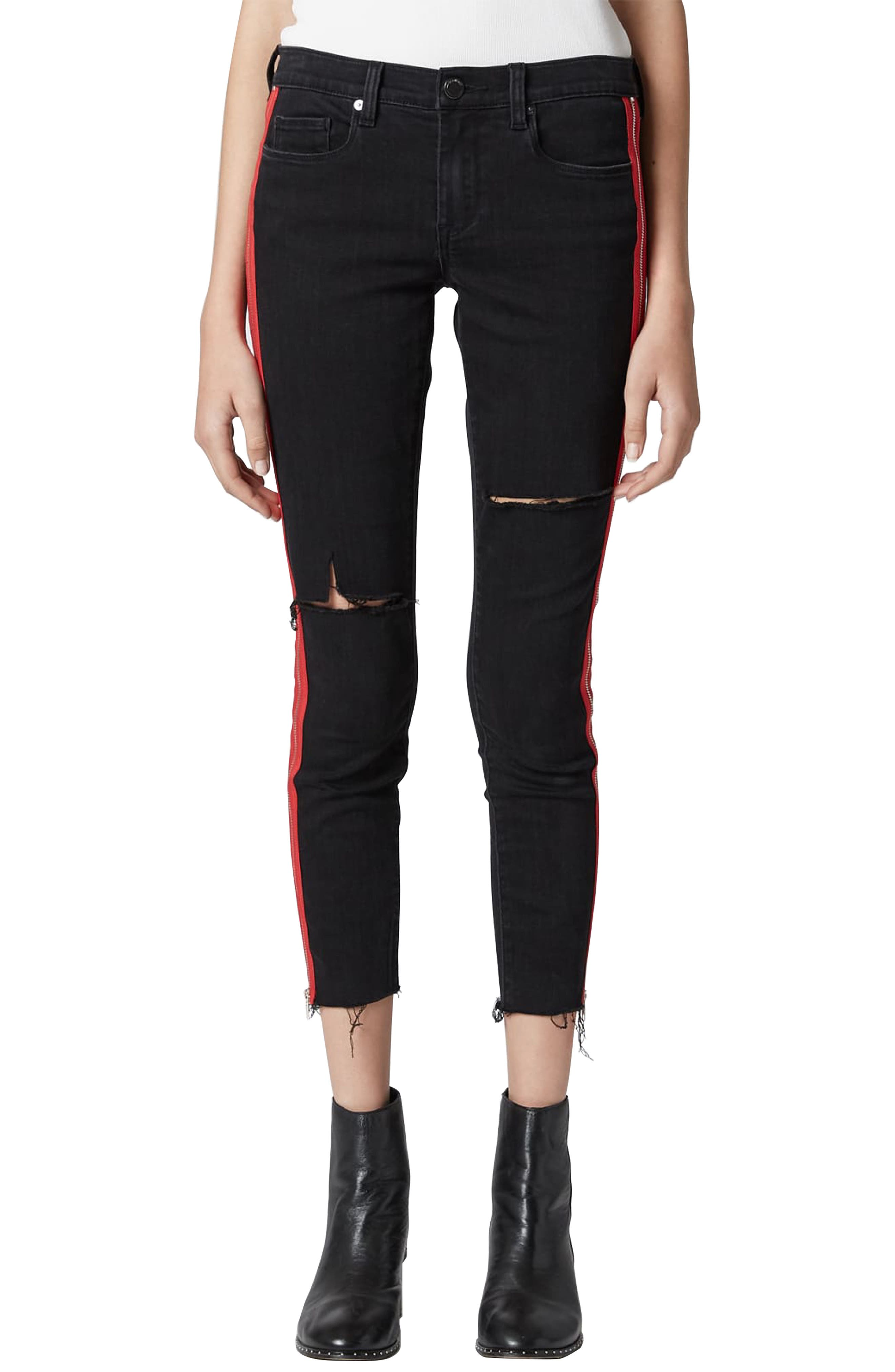 BLANKNYC, The Bond Side Zip Ripped Skinny Jeans, Main thumbnail 1, color, 001