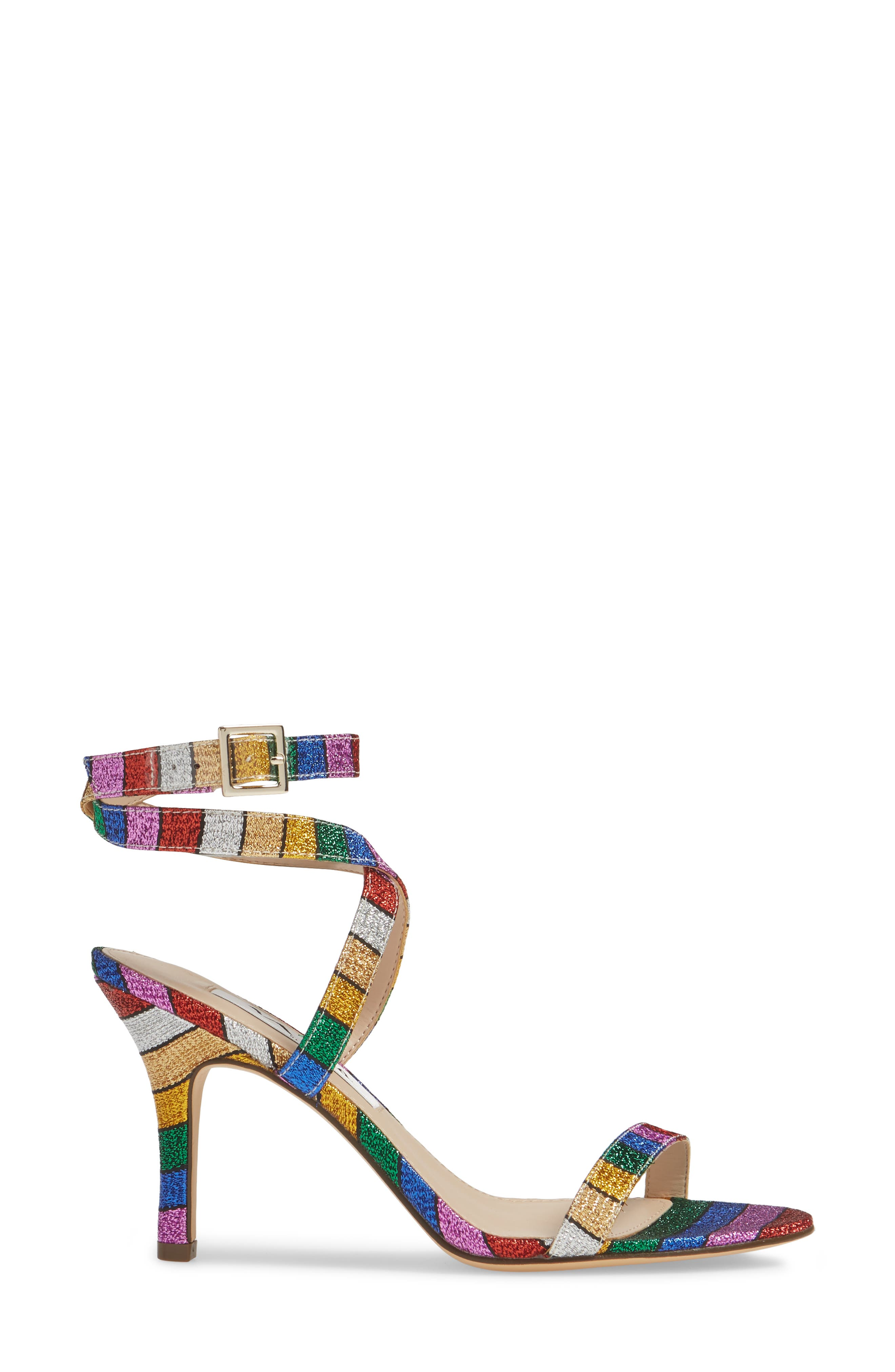 NINA, Vanna Ankle Strap Sandal, Alternate thumbnail 3, color, RAINBOW MULTI FABRIC