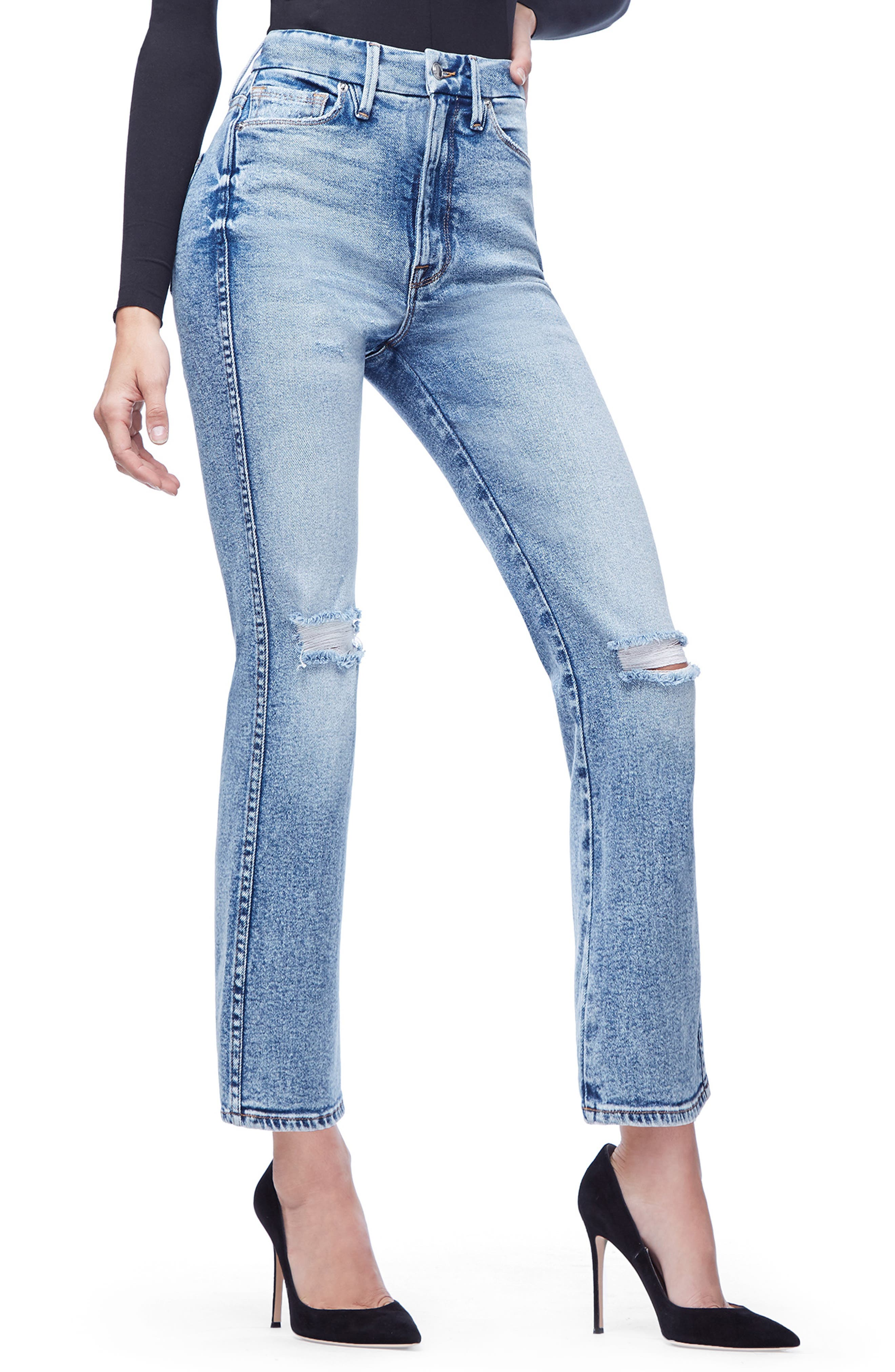 GOOD AMERICAN, Good Curve High Waist Ankle Straight Leg Jeans, Alternate thumbnail 5, color, 401