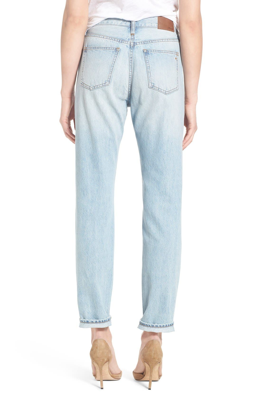 MADEWELL, 'Perfect Summer' High Rise Ankle Jeans, Alternate thumbnail 10, color, FITZGERALD WASH