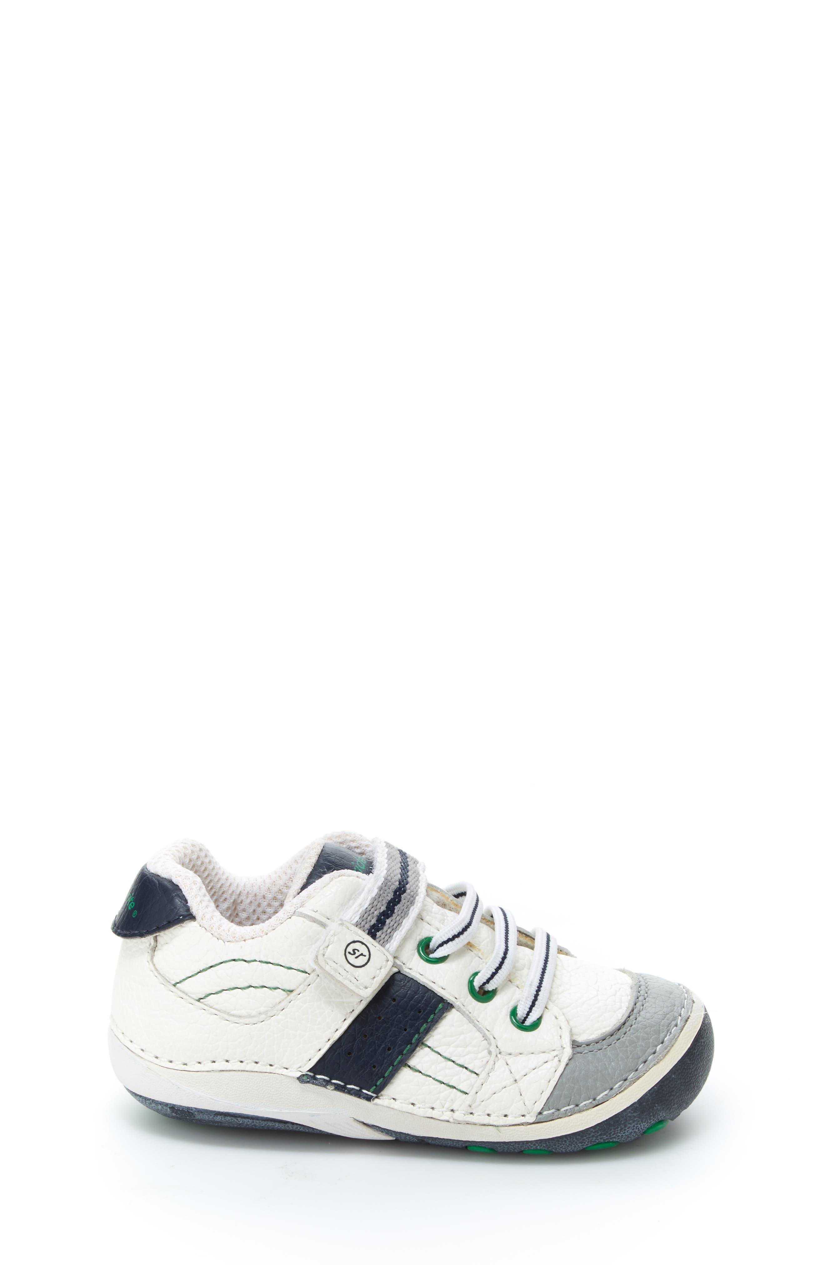 STRIDE RITE, 'Arte' Sneaker, Alternate thumbnail 3, color, WHITE/ NAVY