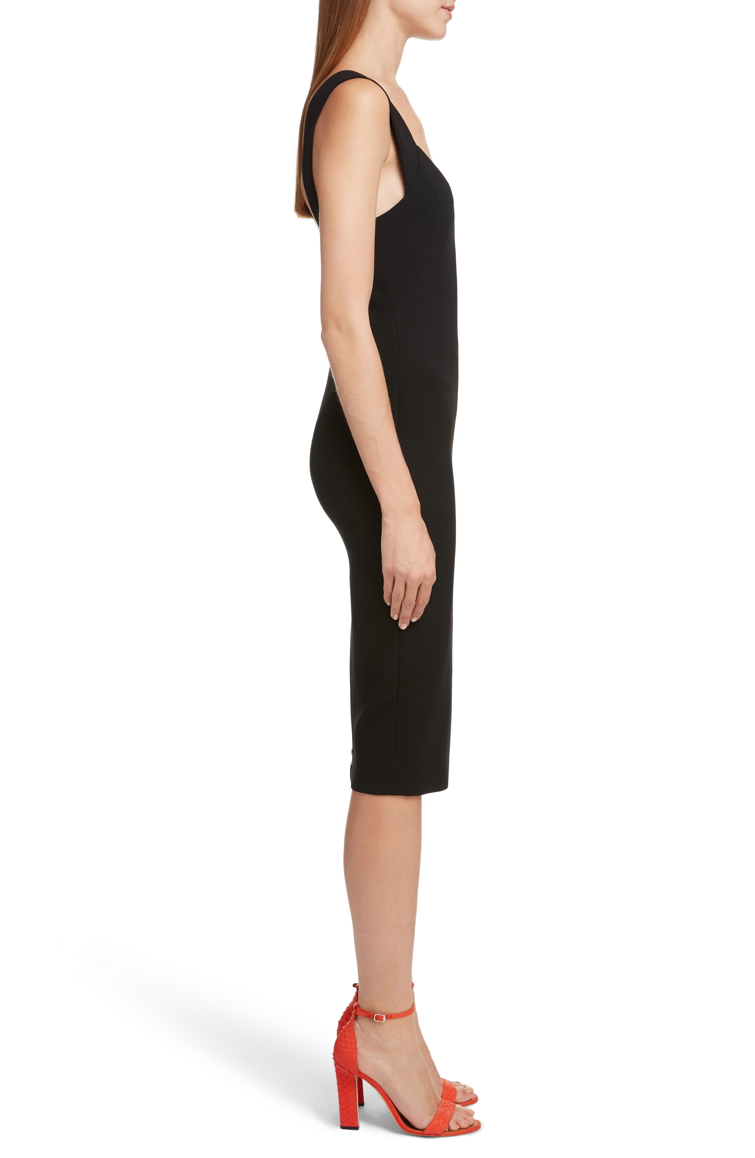 VICTORIA BECKHAM, Sweetheart Neck Body-Con Dress, Alternate thumbnail 3, color, BLACK