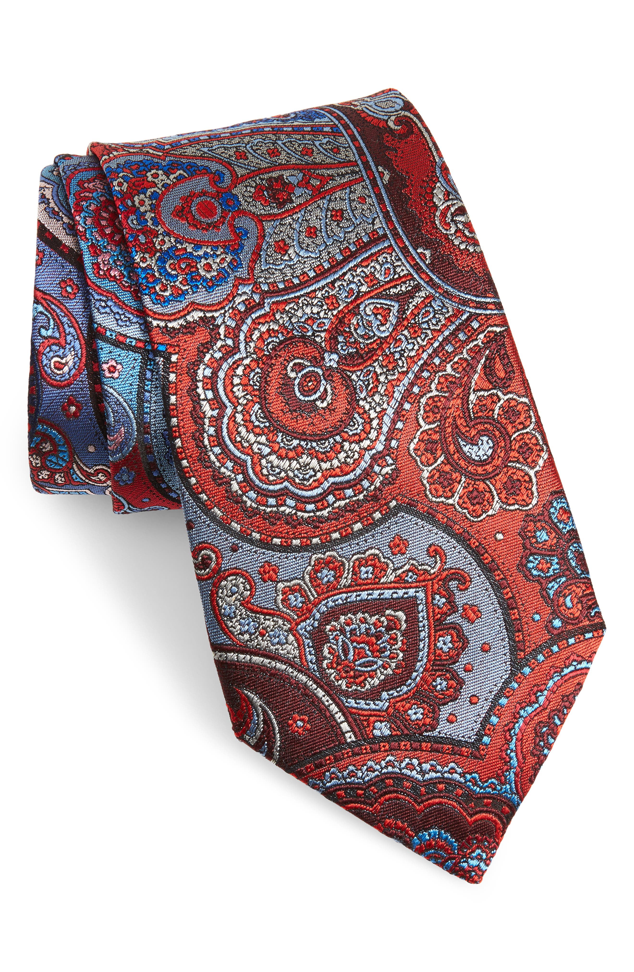 ERMENEGILDO ZEGNA, Quindici Paisley Silk Tie, Main thumbnail 1, color, RED