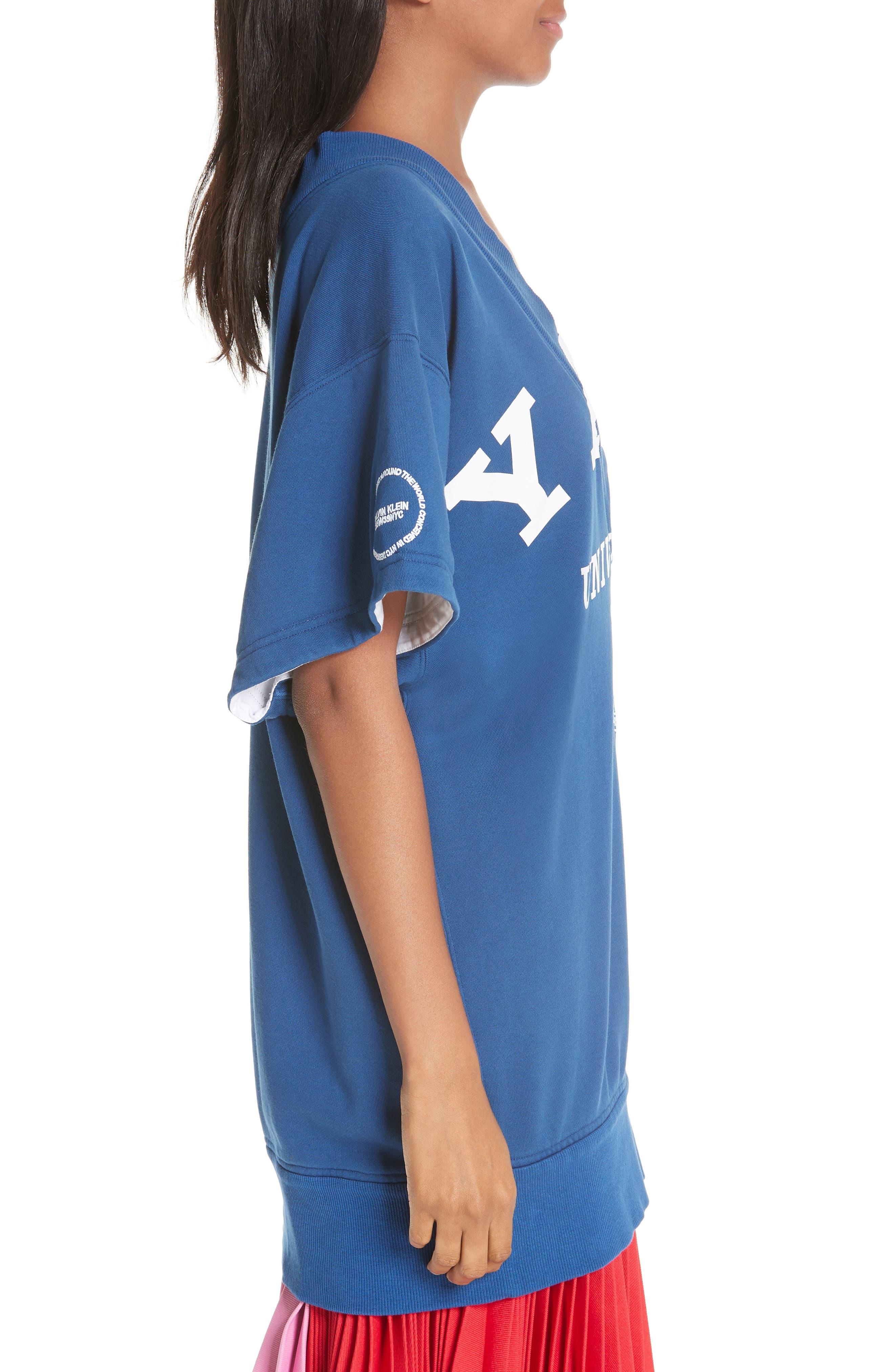 CALVIN KLEIN 205W39NYC, Yale Short Sleeve Sweatshirt, Alternate thumbnail 4, color, YALE BLUE