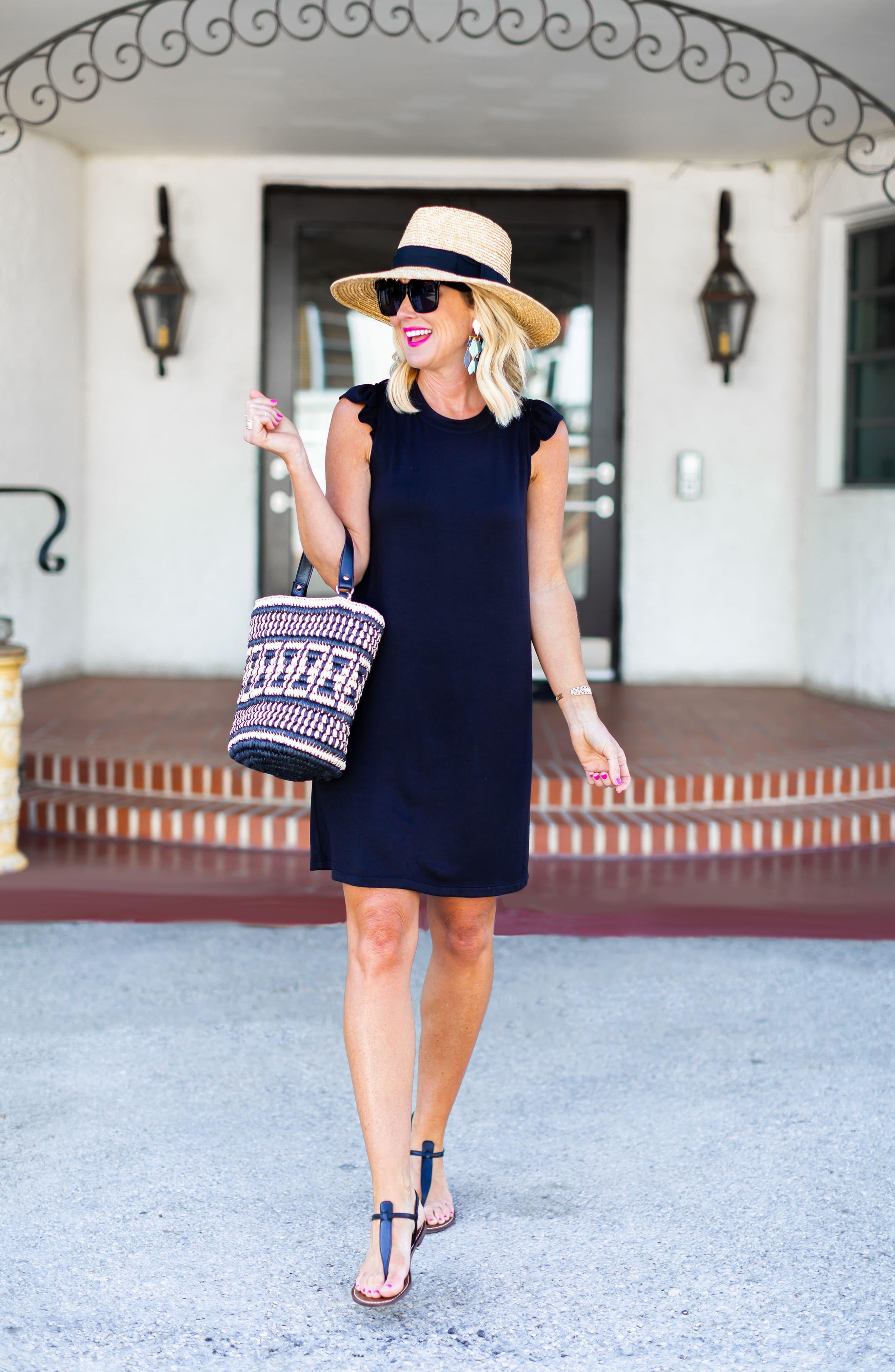 GIBSON, x Hi Sugarplum! Laguna Soft Jersey Ruffle Back T-Shirt Dress, Alternate thumbnail 8, color, BLACK