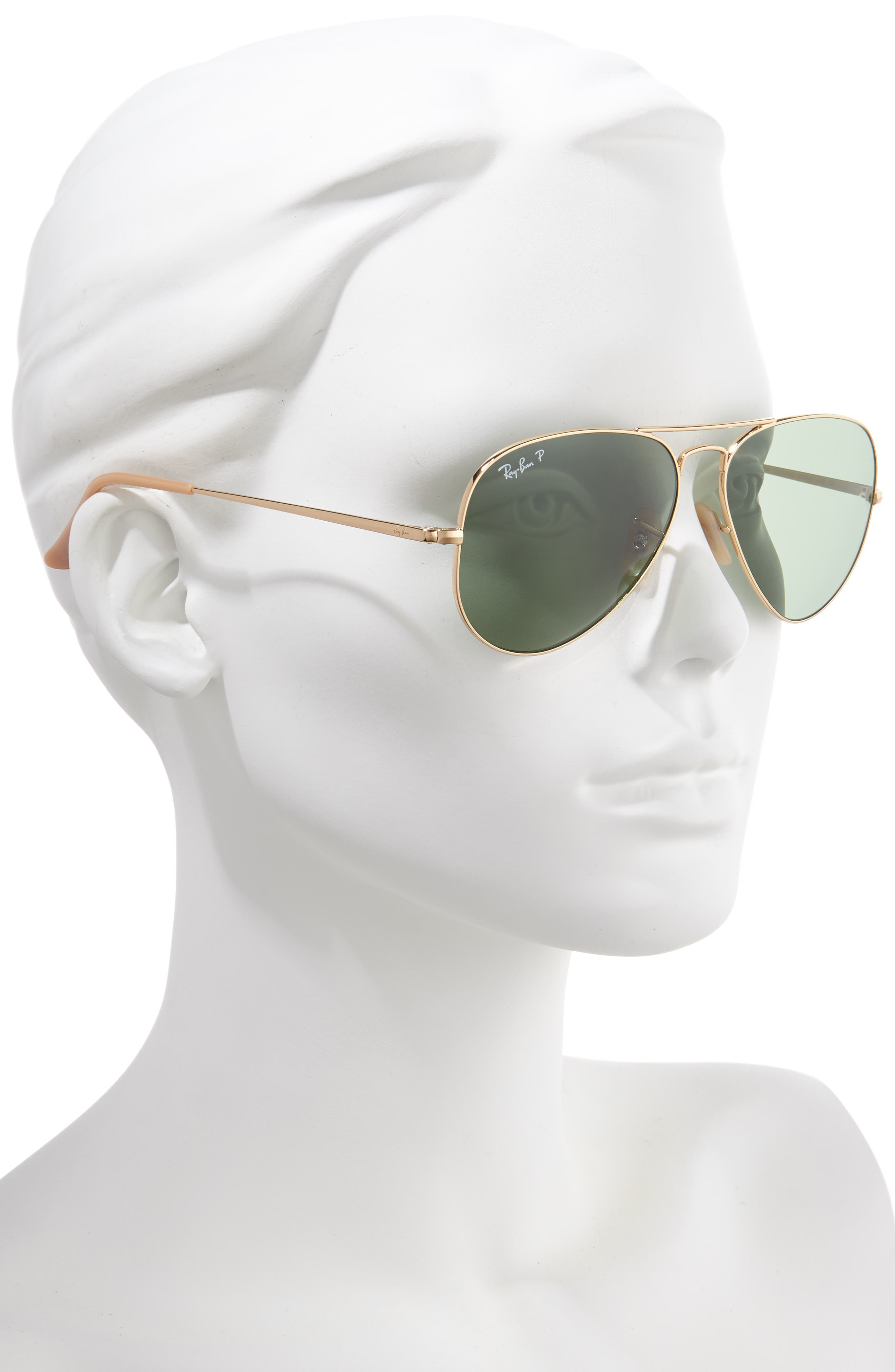 RAY-BAN, 58mm Polarized Aviator Sunglasses, Alternate thumbnail 2, color, GOLD/ GREEN SOLID