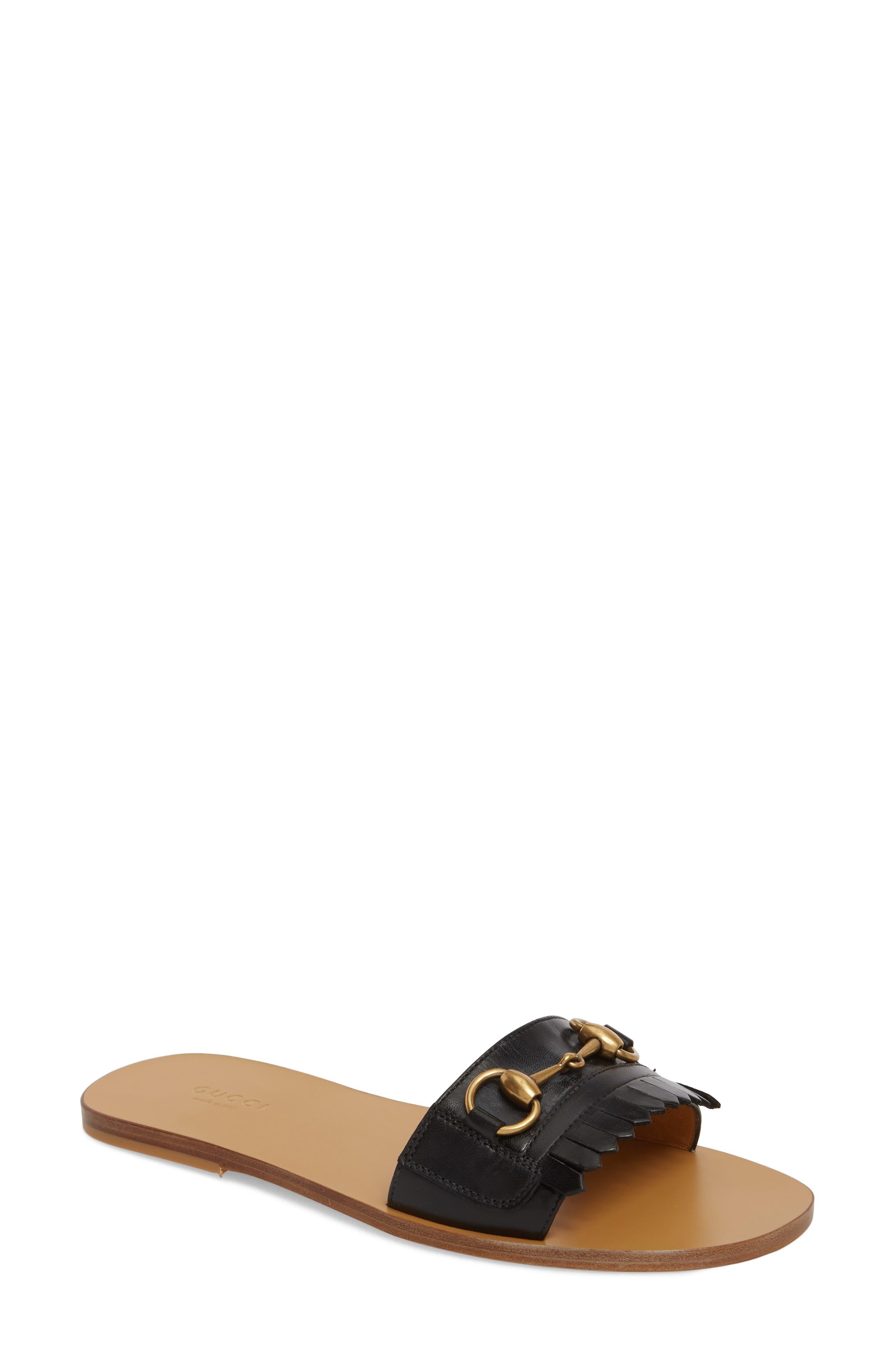 GUCCI Slide Sandal, Main, color, BLACK