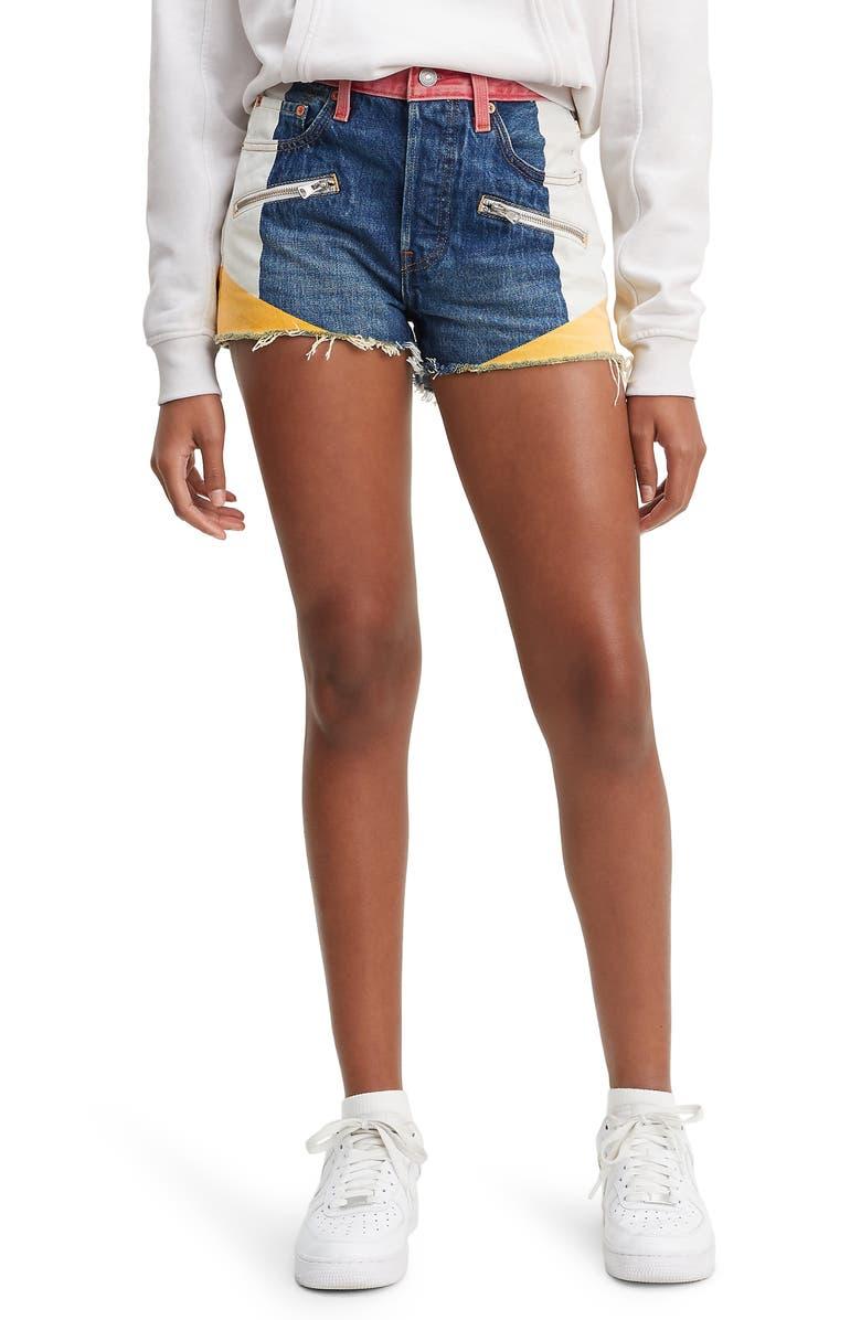 Levi's Shorts 501 COLORBLOCK HIGH WAIST CUTOFF SHORTS