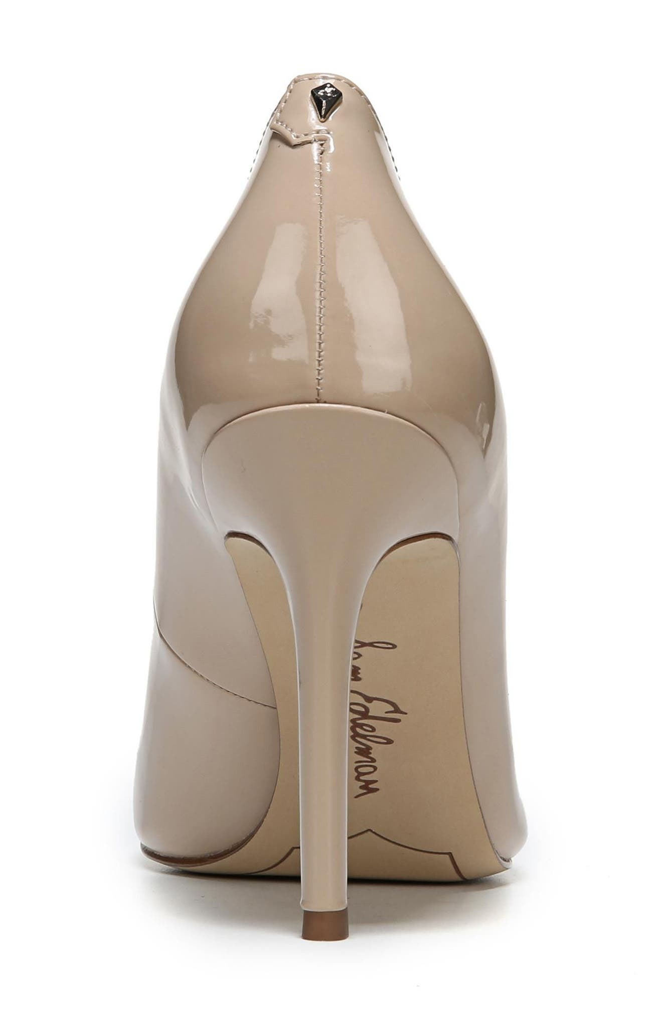 SAM EDELMAN, Hazel Pointy Toe Pump, Alternate thumbnail 9, color, NUDE LINEN PATENT LEATHER