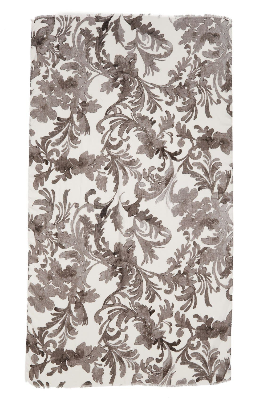 NORDSTROM, 'Antique Damask' Print Scarf, Alternate thumbnail 2, color, 030