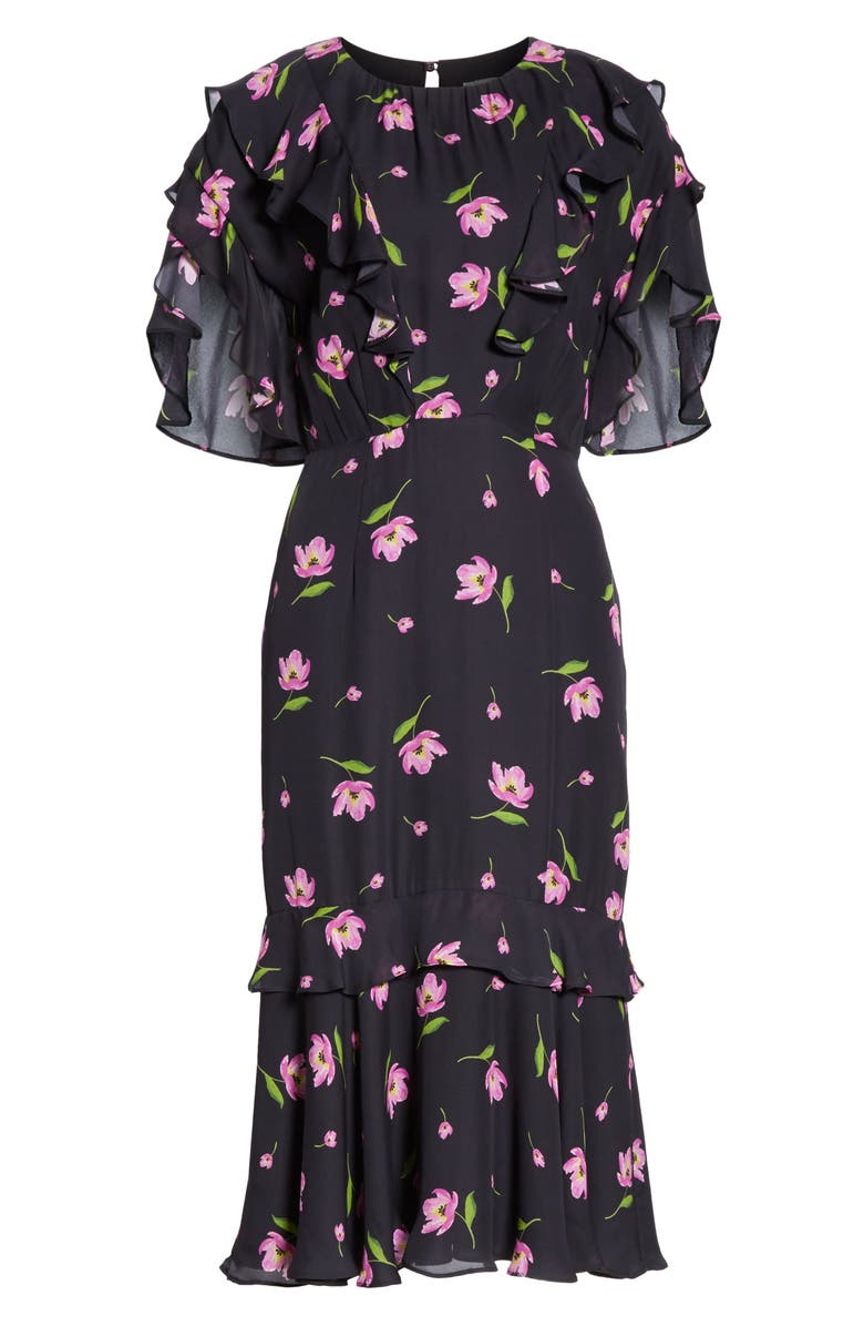 920ed69eb01 Milly Gia Floral Print Ruffle Silk Dress In Black   Pink