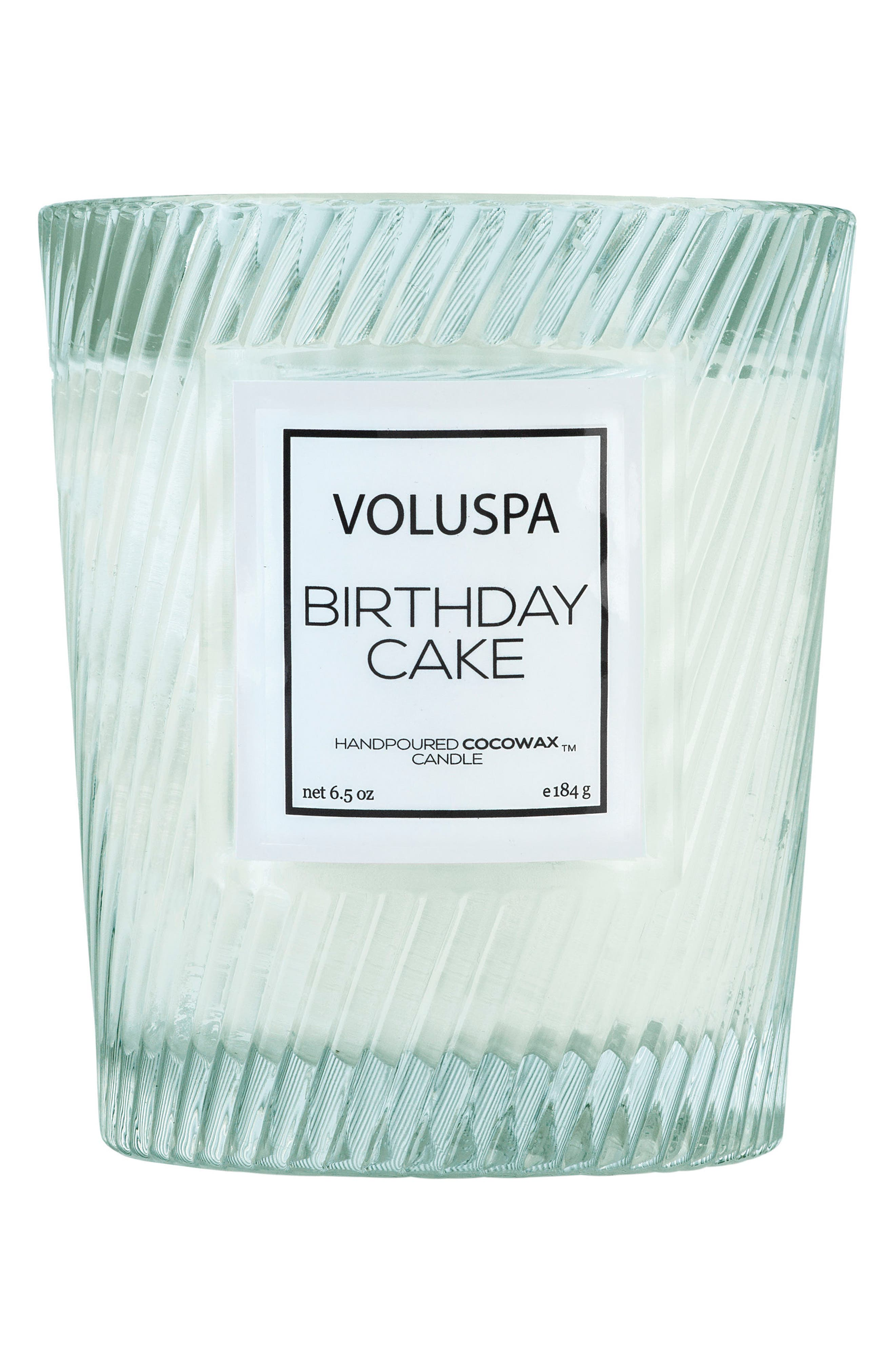 VOLUSPA, Macaron Classic Textured Glass Candle, Main thumbnail 1, color, BIRTHDAY CAKE