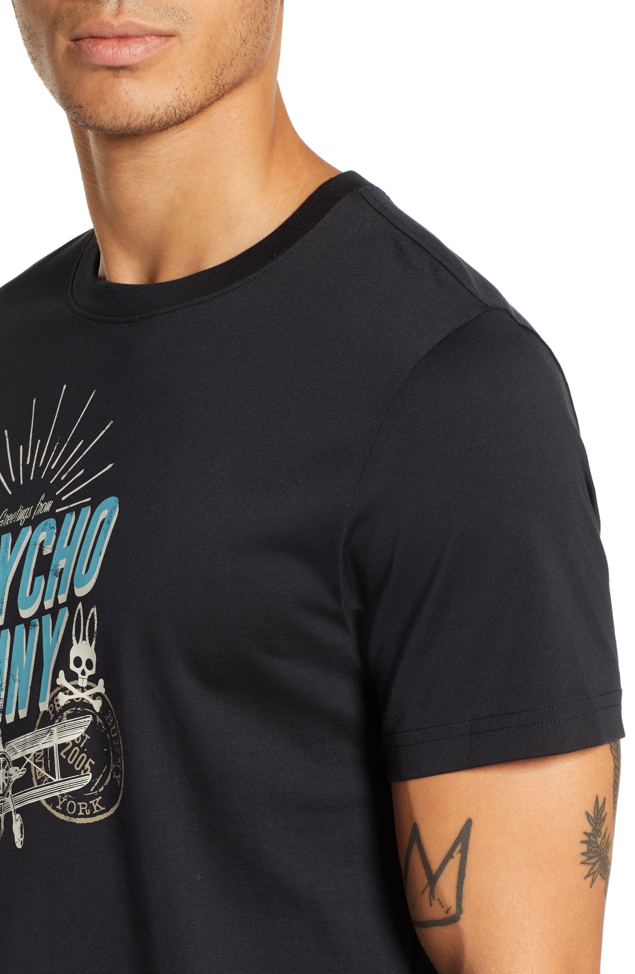 PSYCHO BUNNY, Otley Graphic T-Shirt, Alternate thumbnail 4, color, 001