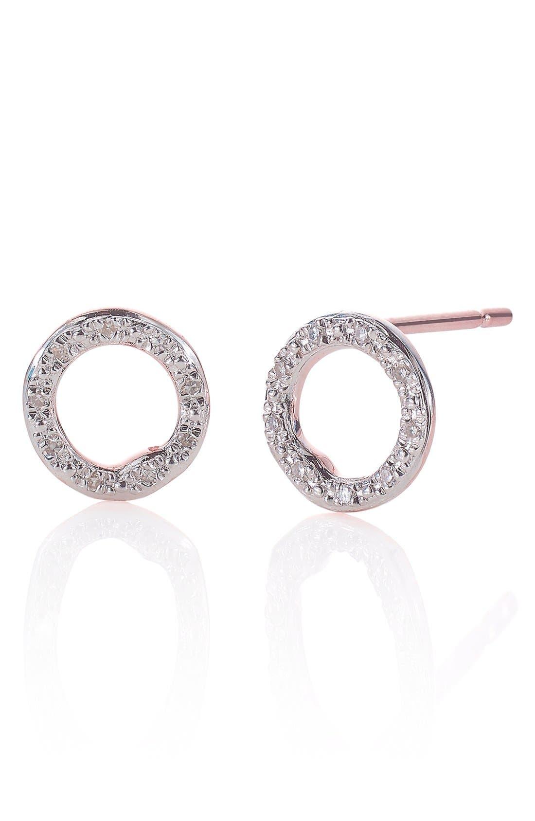 MONICA VINADER, 'Riva' Circle Stud Diamond Earrings, Main thumbnail 1, color, ROSE GOLD