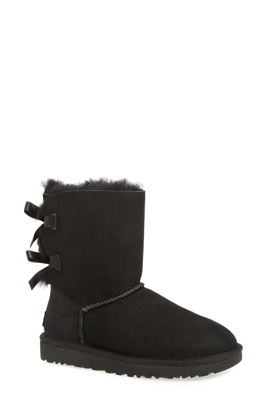 UGG<SUP>®</SUP>, Bailey Bow II Genuine Shearling Boot, Main thumbnail 1, color, BLACK SUEDE