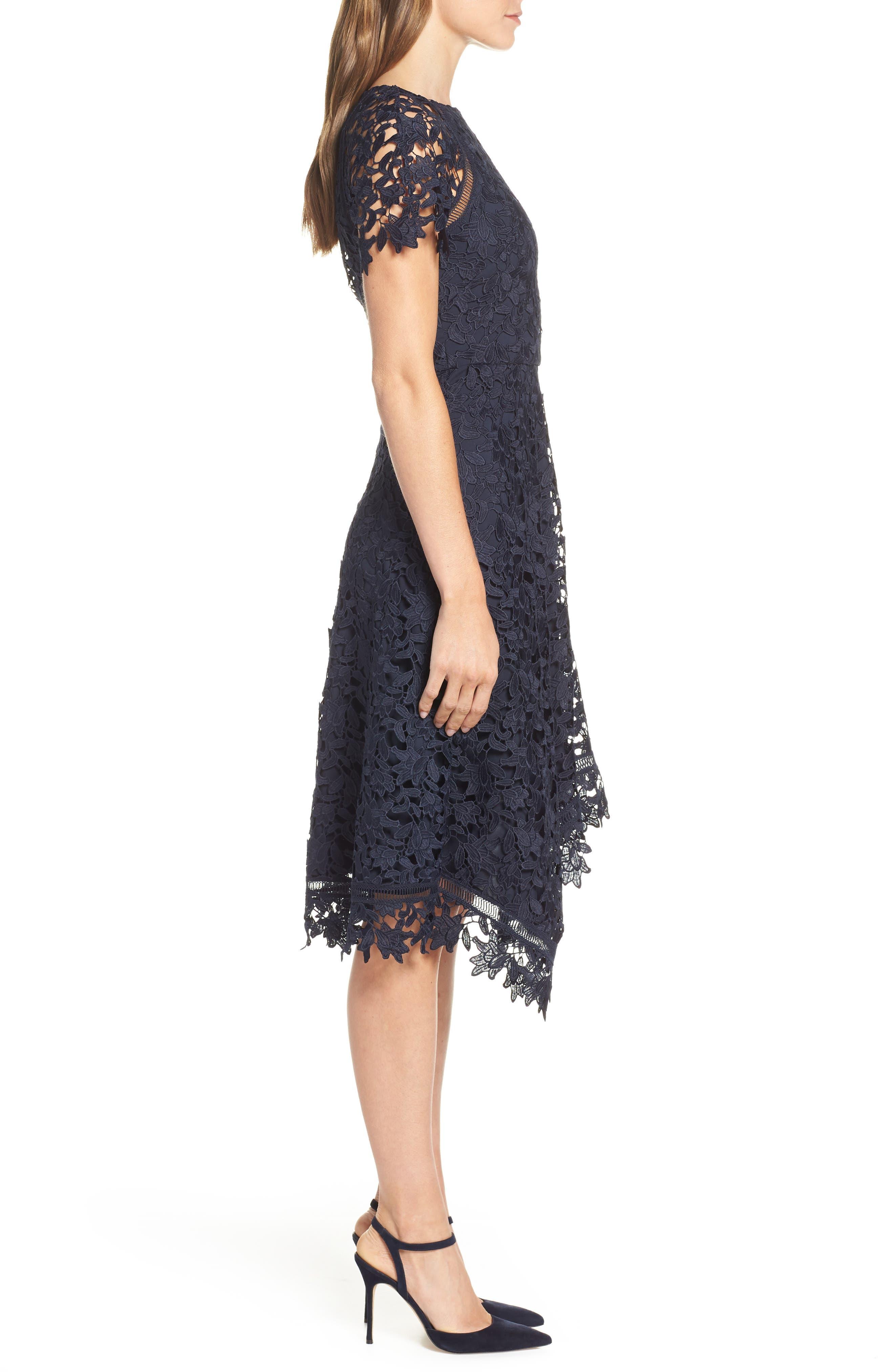 ELIZA J, Asymmetrical Lace Dress, Alternate thumbnail 4, color, NAVY