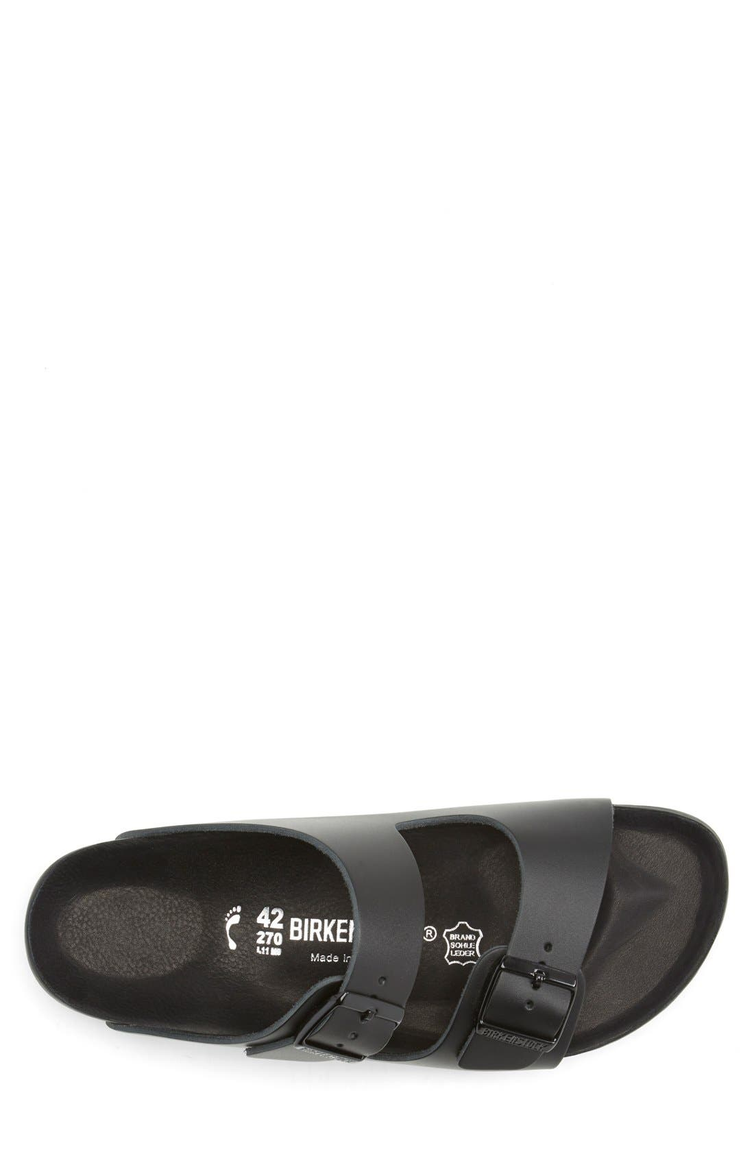 BIRKENSTOCK, Monterey Leather Slide Sandal, Alternate thumbnail 4, color, BLACK